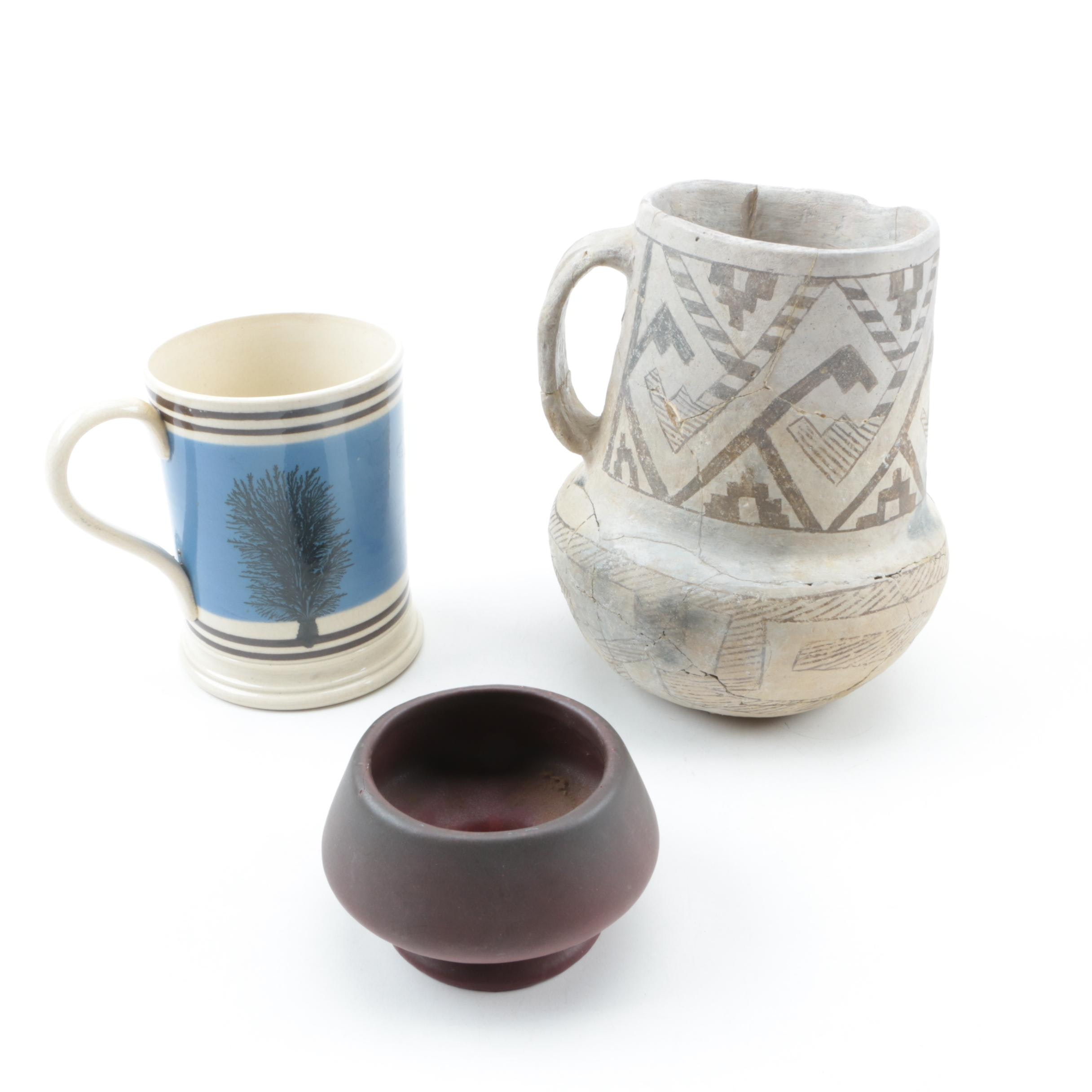 Earthenware, Mochaware Tankard, Anasazi Style Pitcher and Van Briggle Vase
