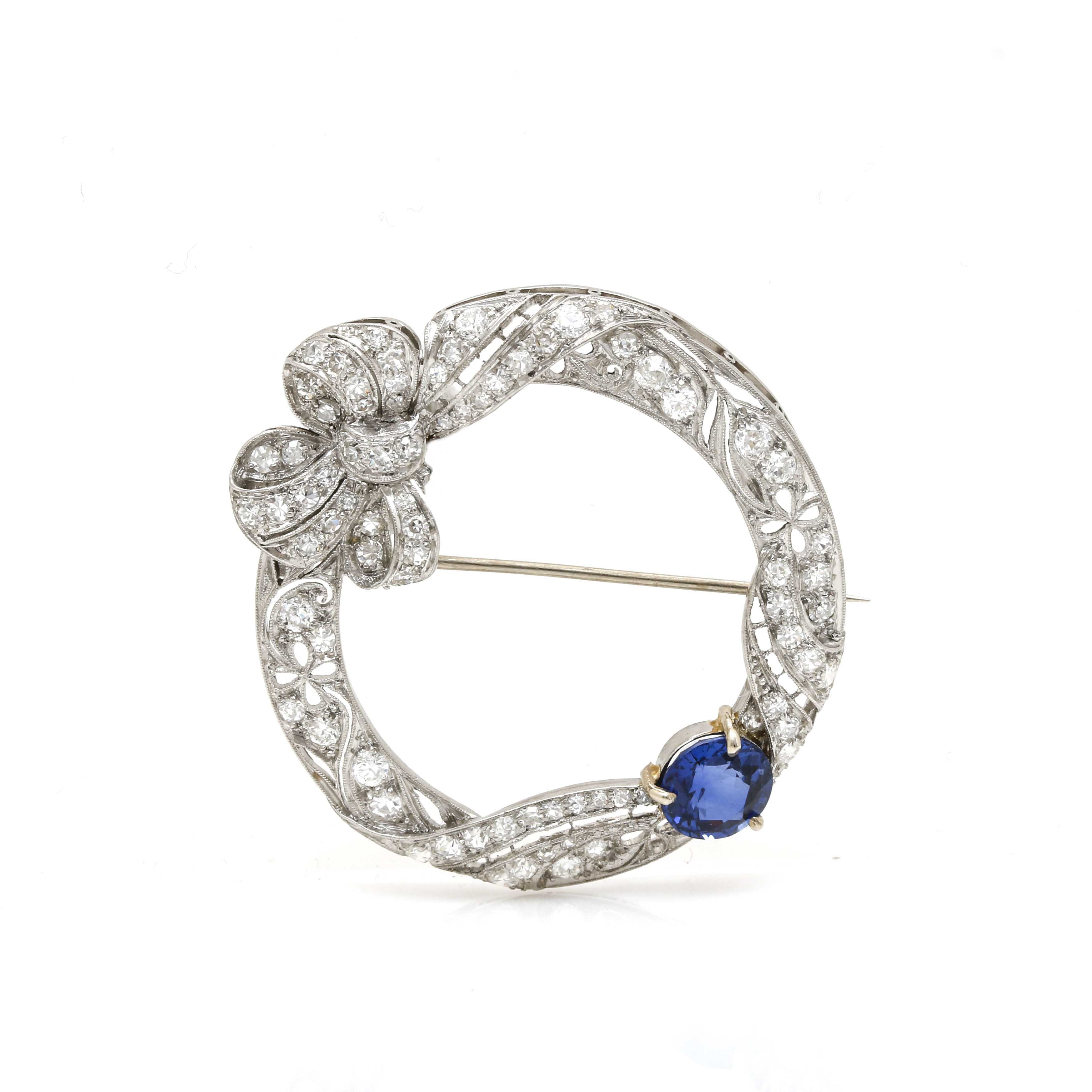 Belle Epoque Platinum Synthetic Sapphire and 1.62 CTW Diamond Brooch