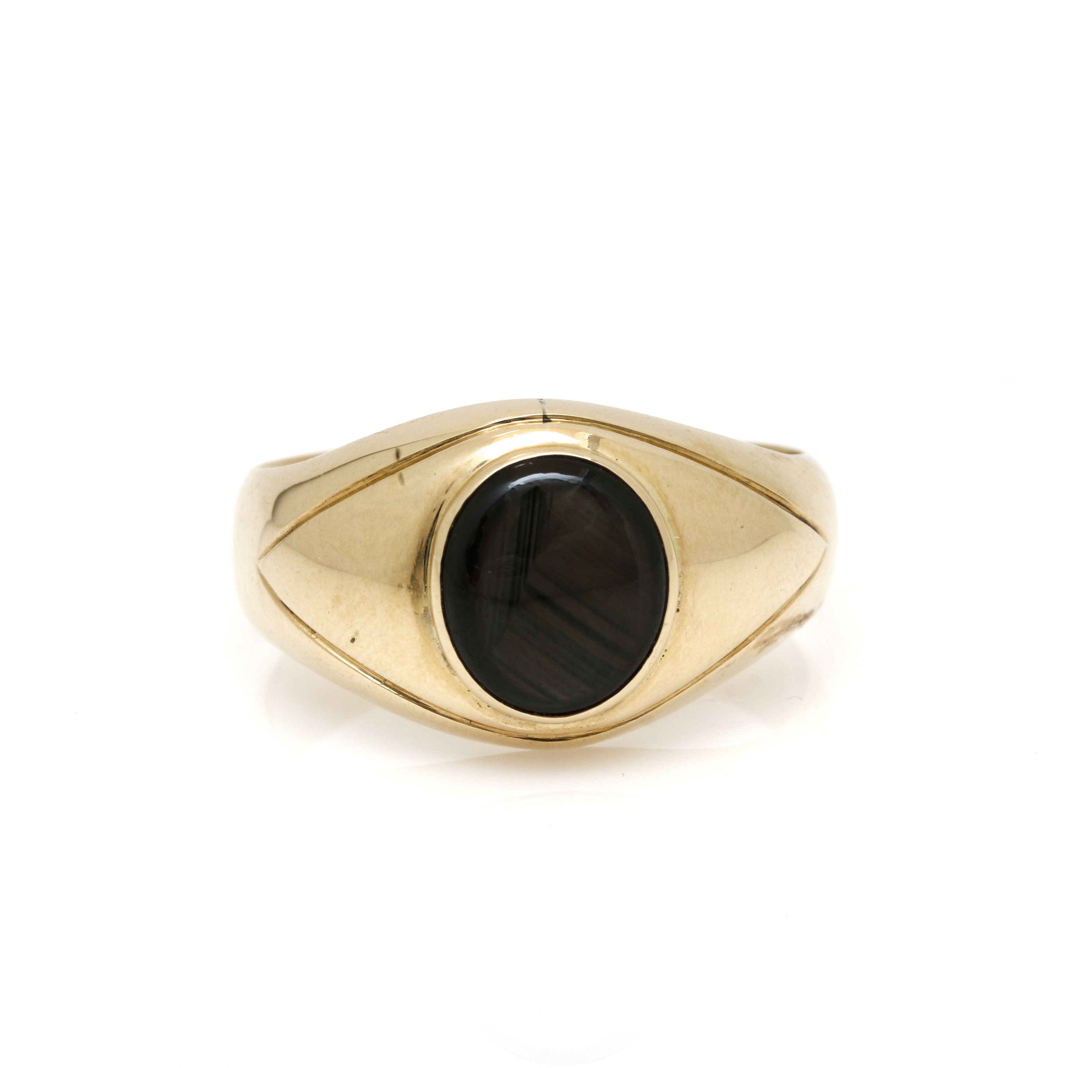 10K Yellow Gold Black Star Sapphire Ring