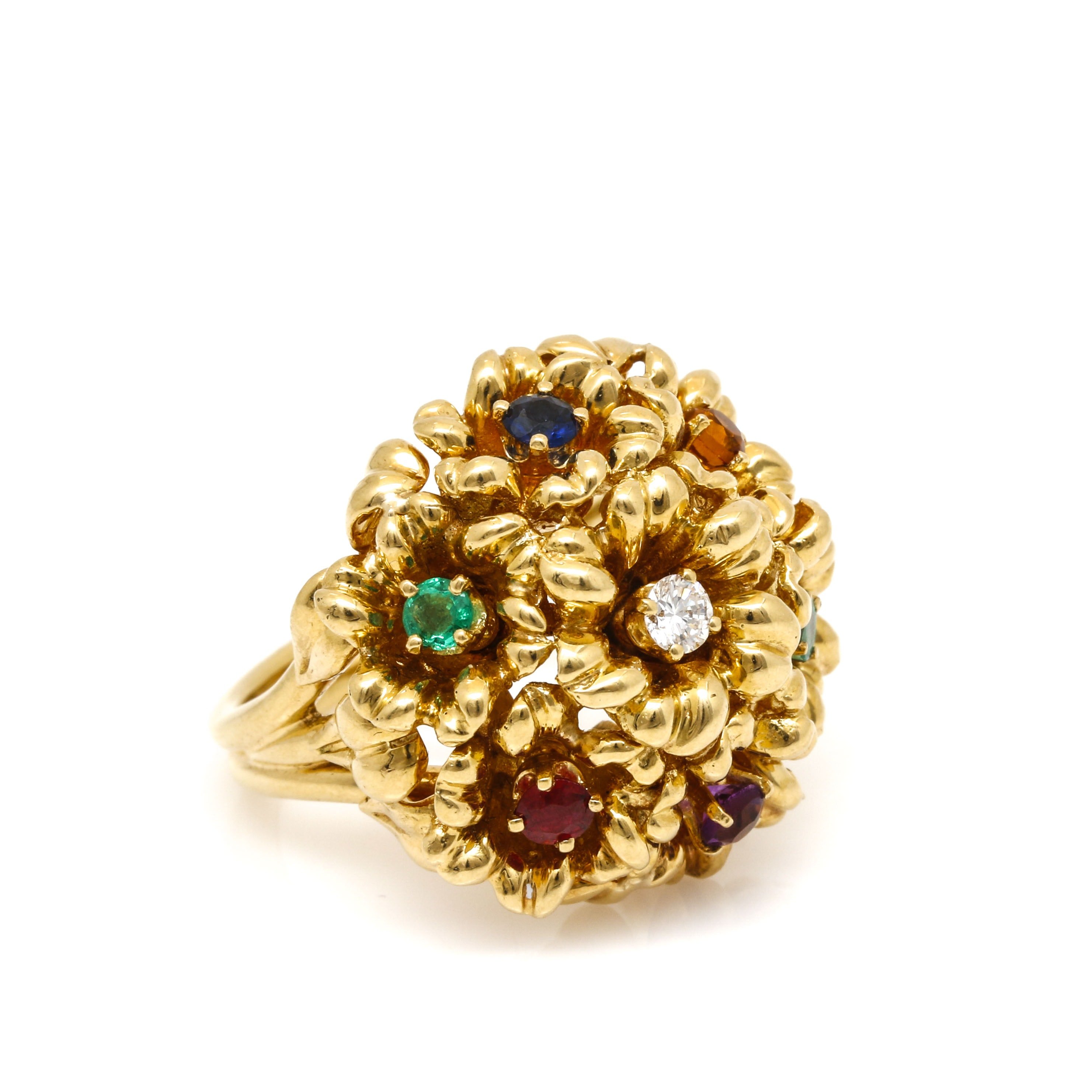 Henry Dankner 18K Yellow Gold Gemstone Floral Ring