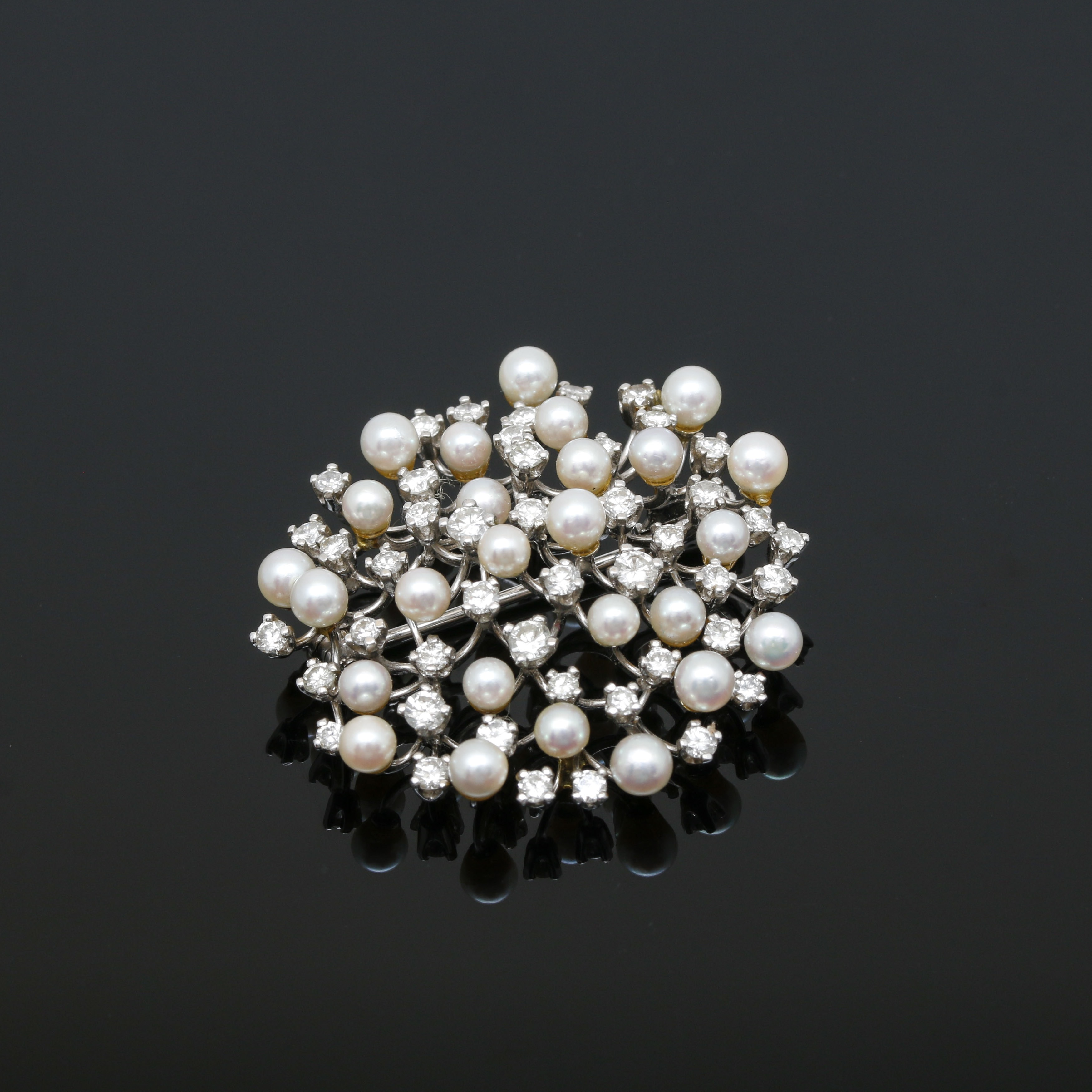 18K White Gold Cultured Pearl and 1.96 CTW Diamond Brooch