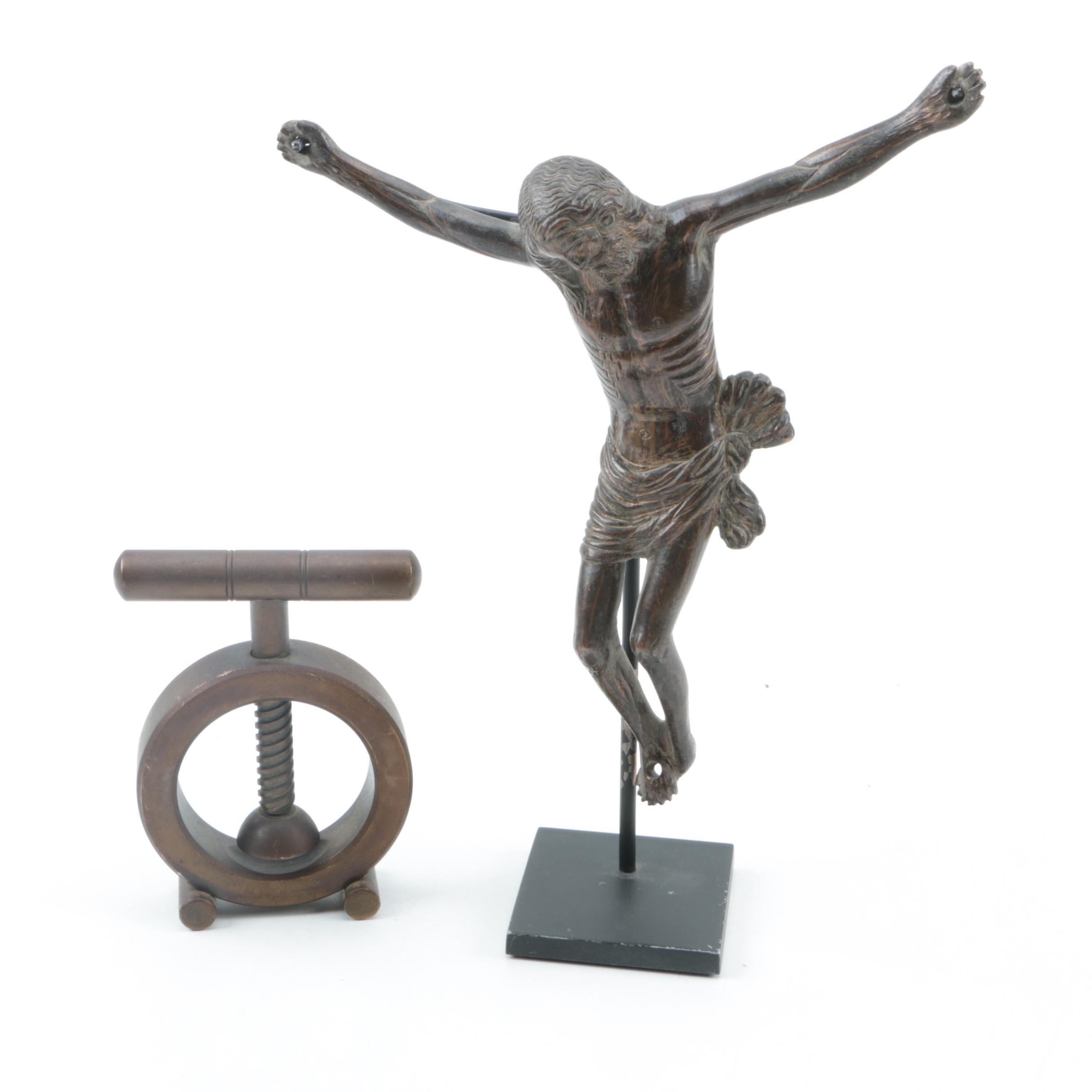 Metal Christ Figure and Art Deco Nutcracker