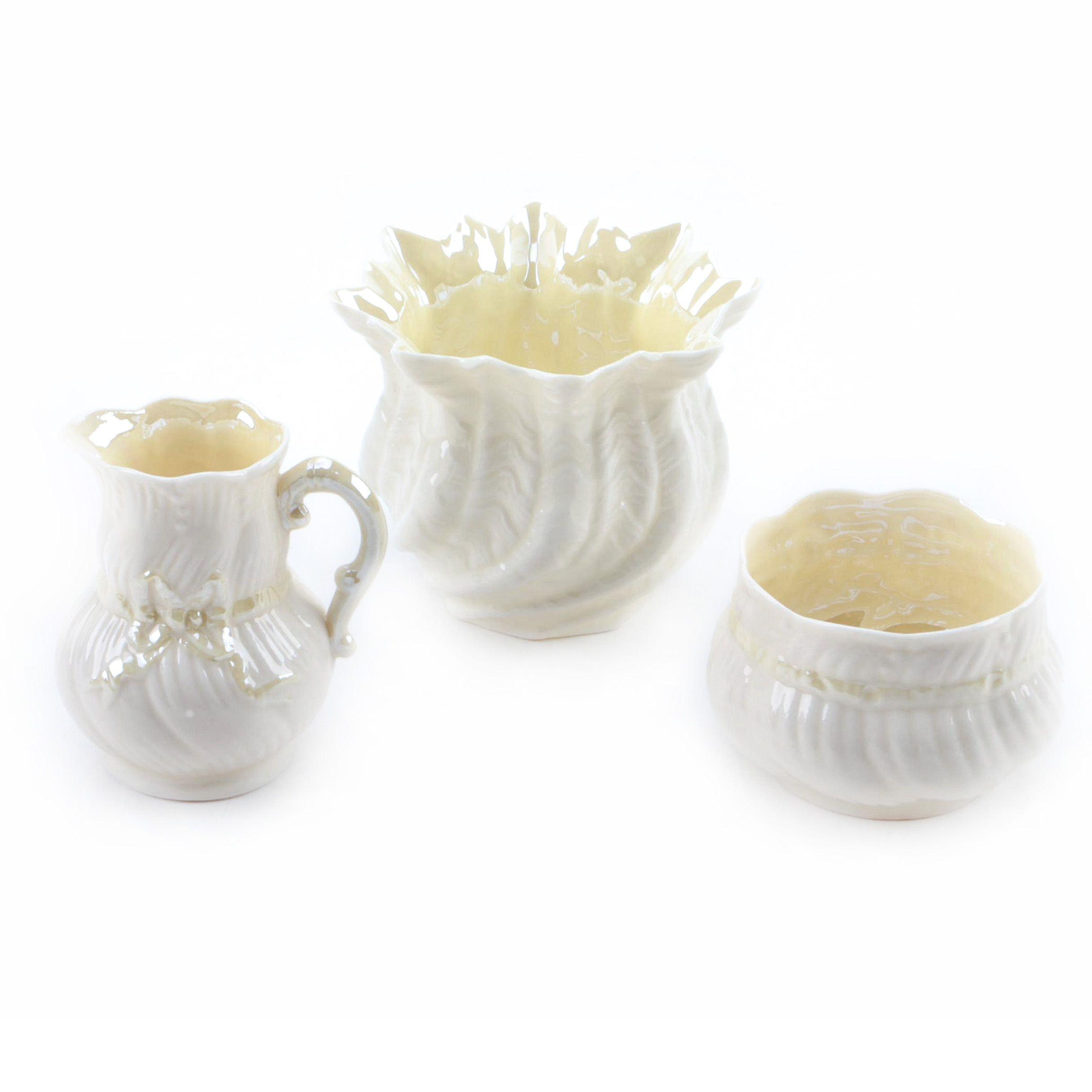Vintage Belleek Bone China Tableware and Vase