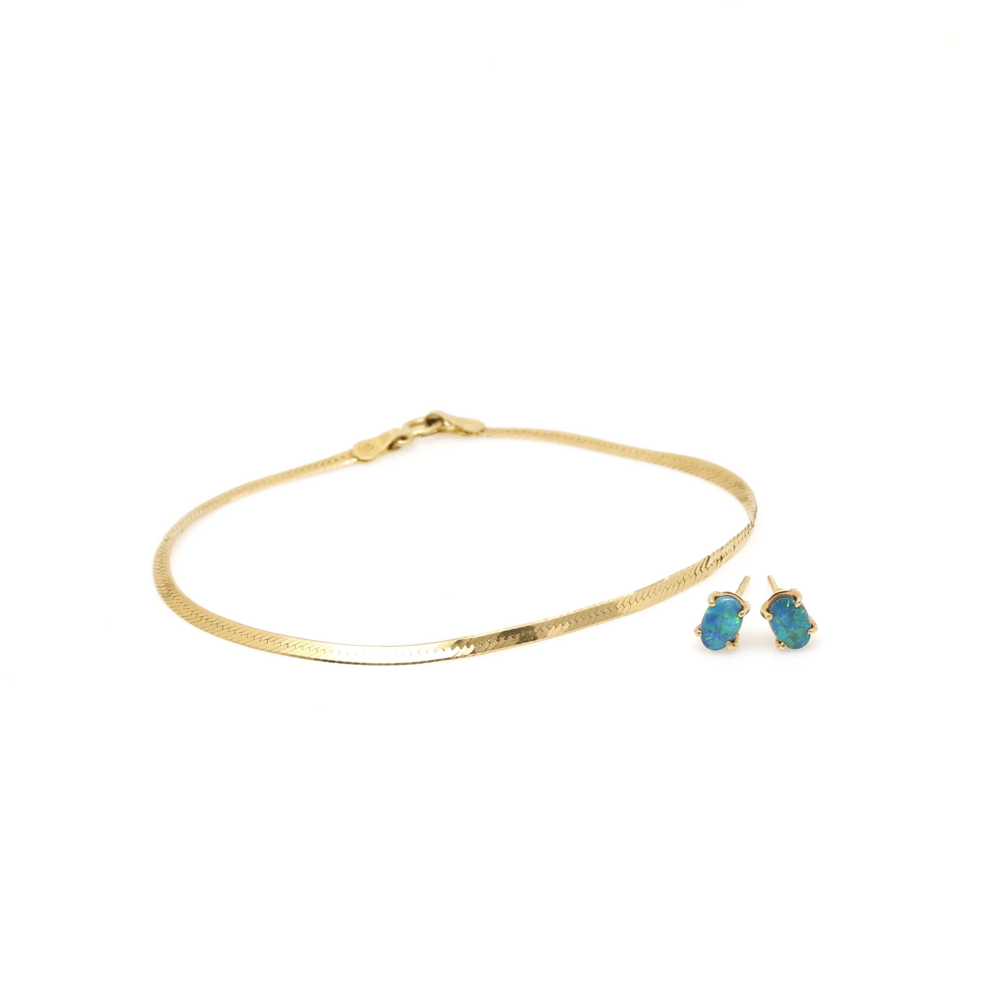 10K and 14K Yellow Gold Opal Doublet Earrings and 14K Yellow Gold Bracelet