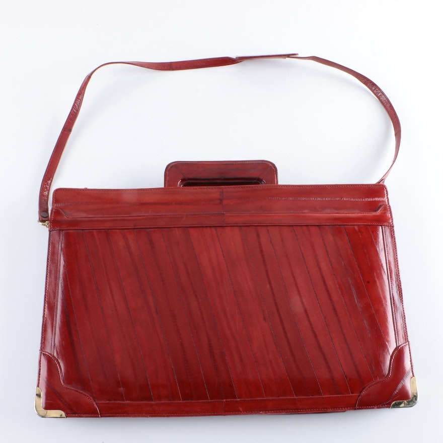 c5b543ababcc Vintage Red Leather Briefcase   EBTH