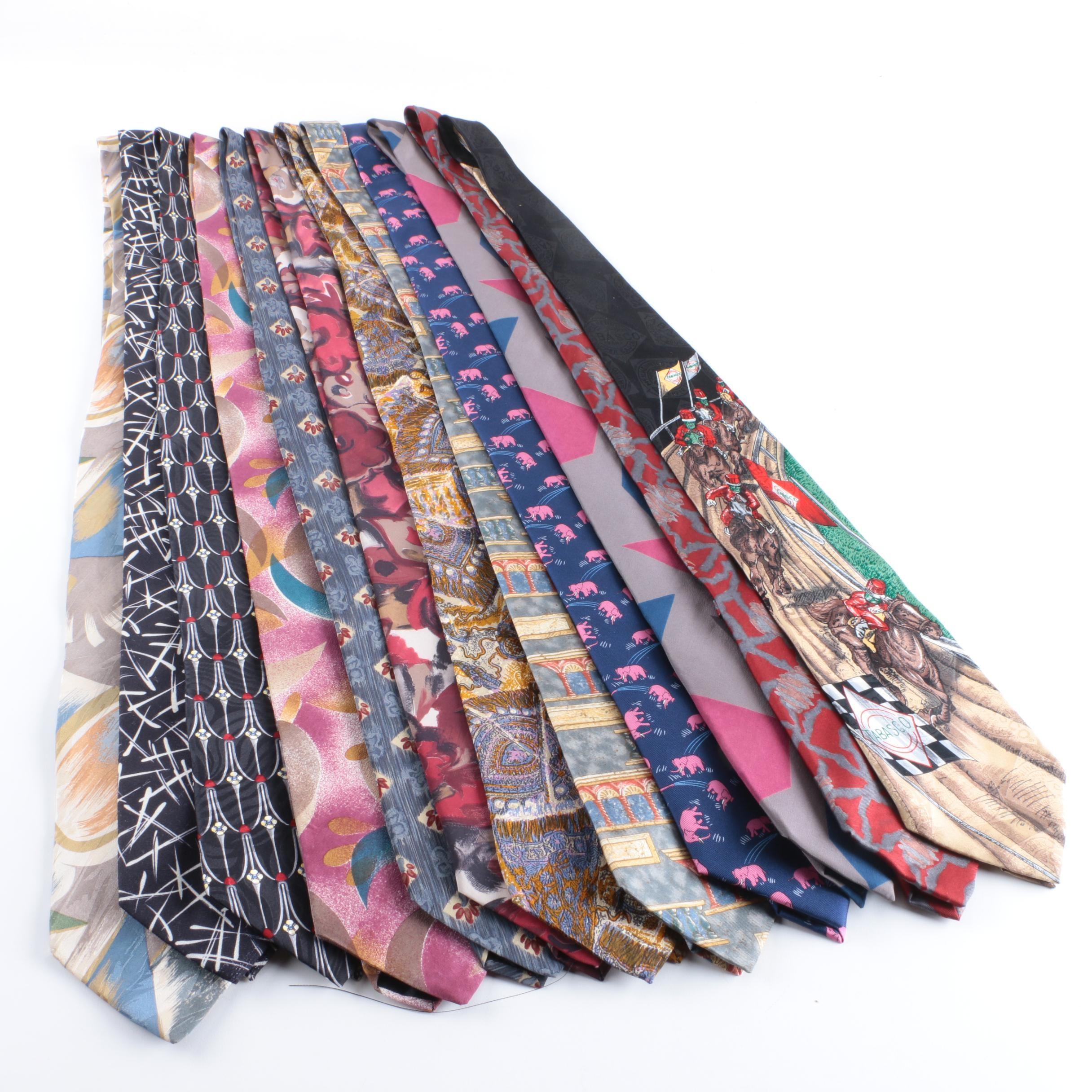 Men's Vintage Silk Neckties Including J.T. Beckett and Zylos George Machado