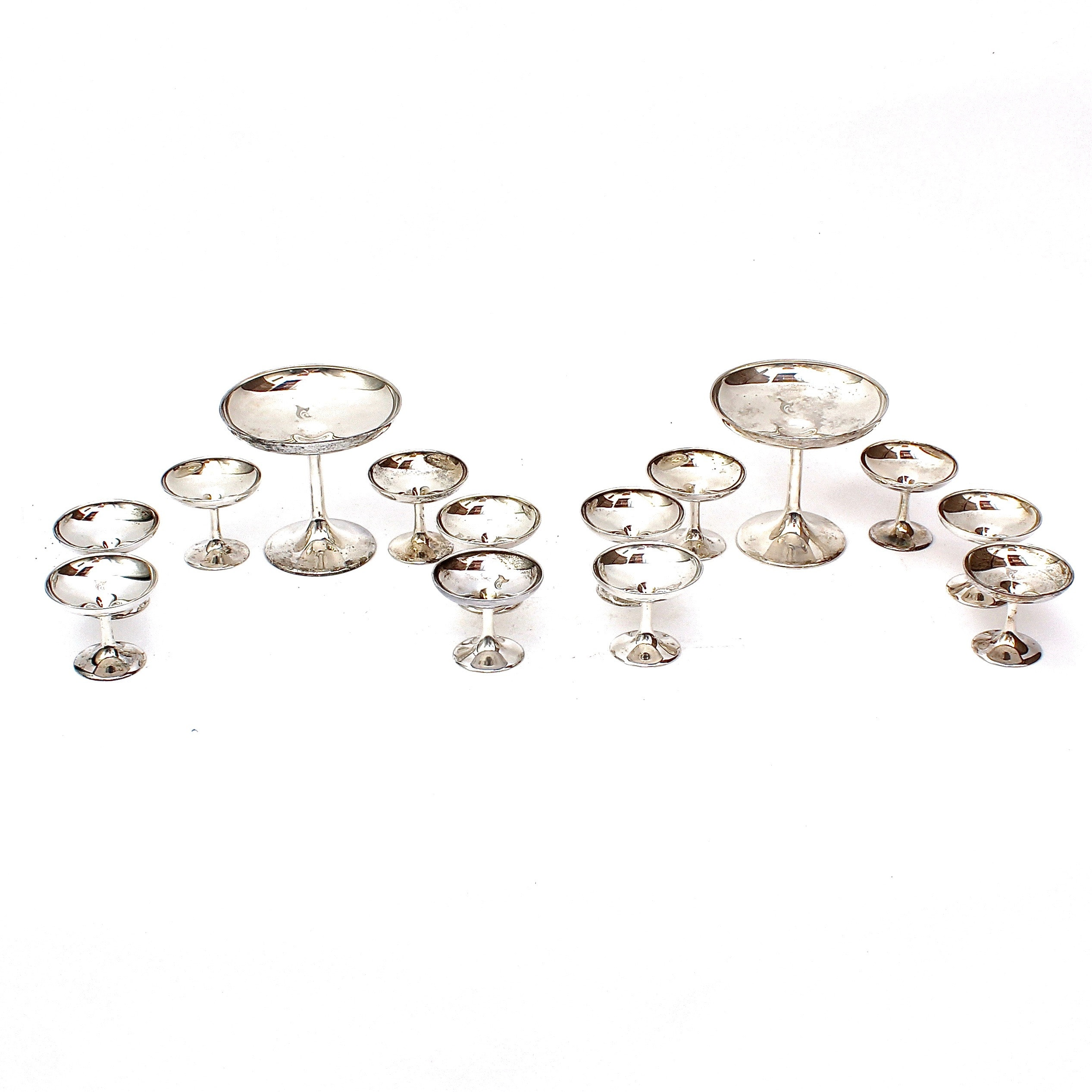 Sterling Silver Champagne Coupes and Sherbert Cups
