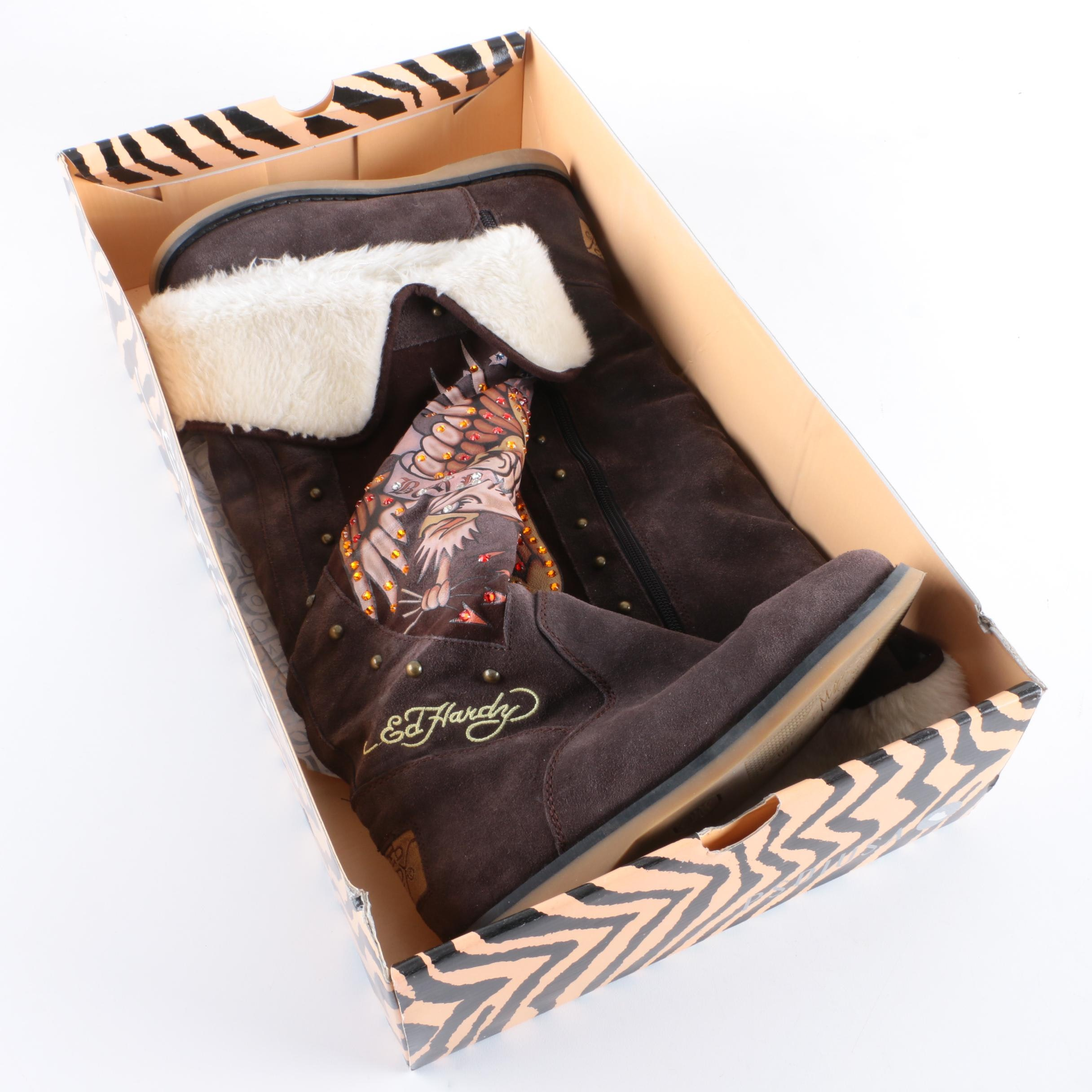 Women's Ed Hardy Suede Embellished Boots