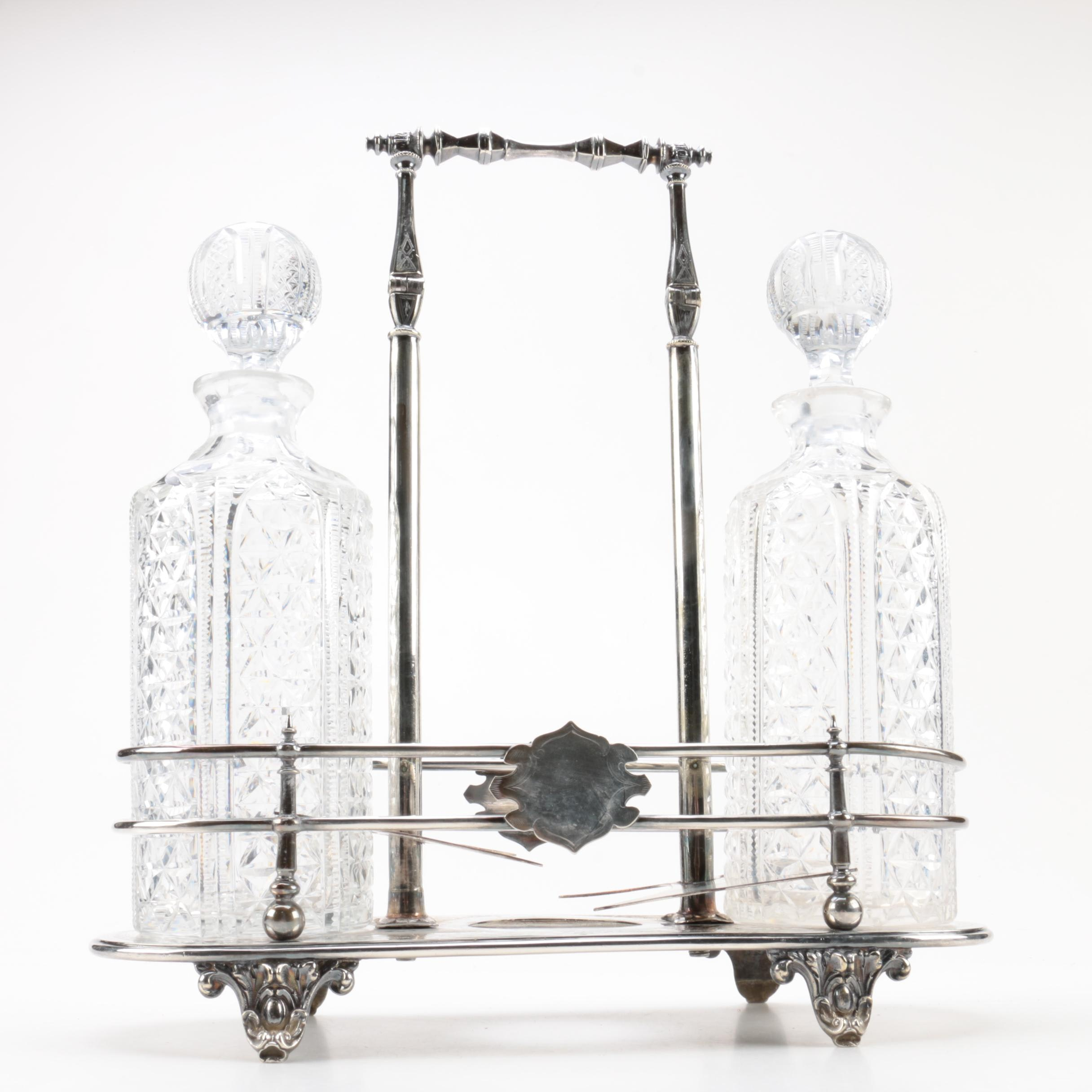 Crystal Decanters and Silver Plate Caddy