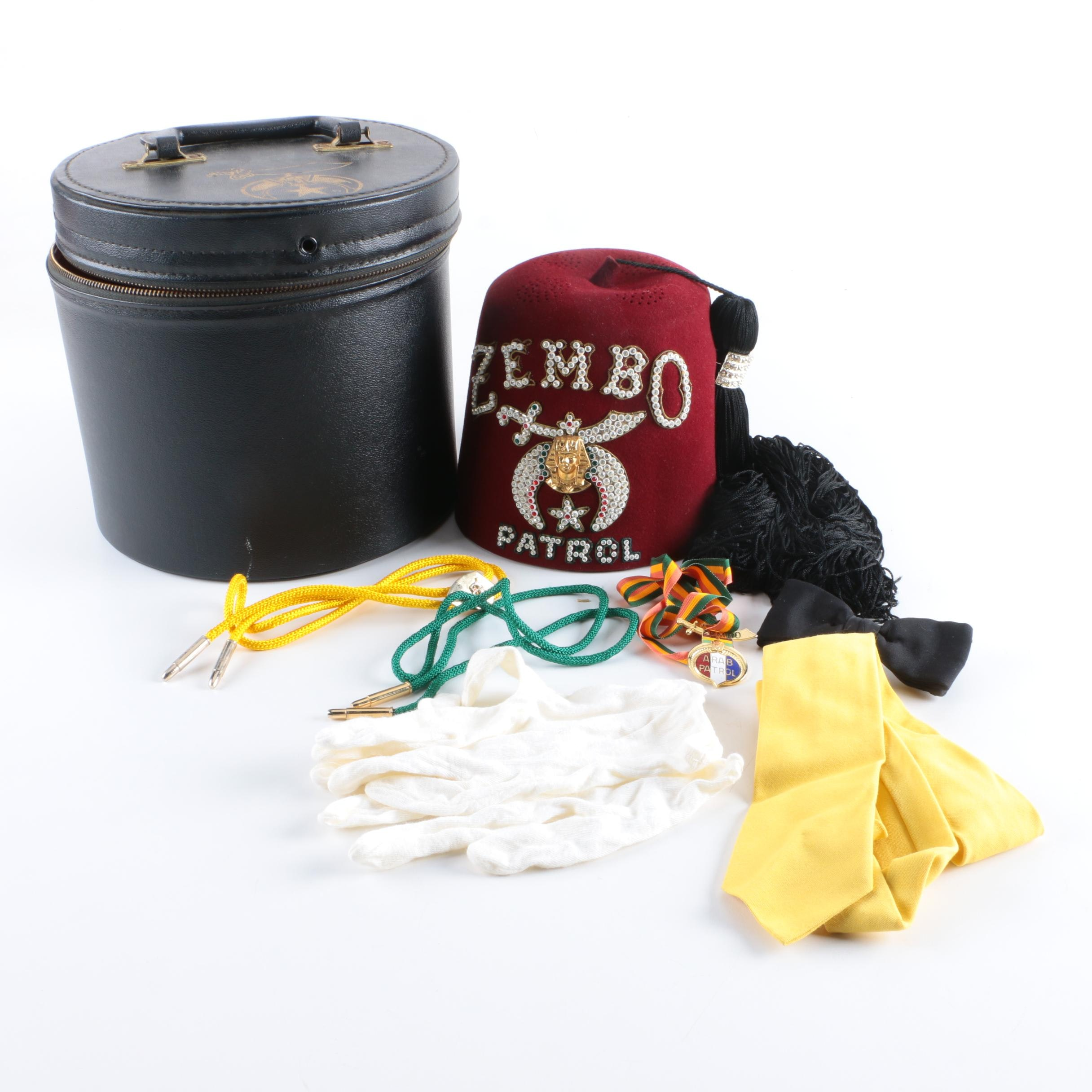 Zembo Patrol Fez with Carrying Case and Masonic Style Accessories