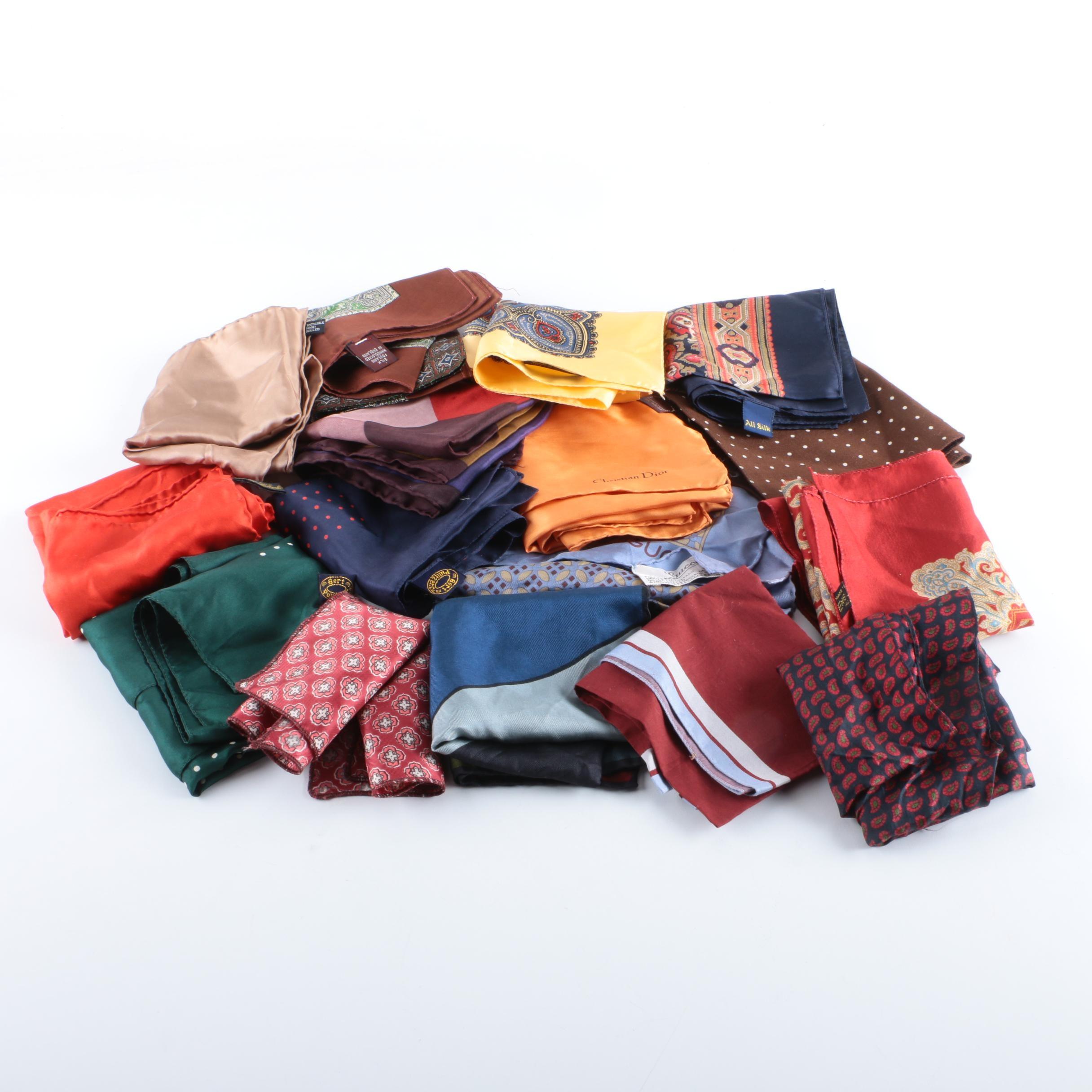 Men's Silk Pocket Squares Including Gucci, Christian Dior and Bert Pulitzer