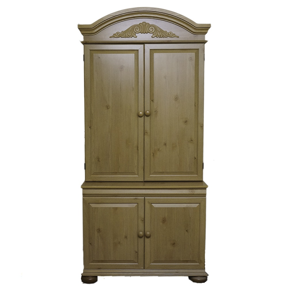 Traditional Style Pine Finished Entertainment Armoire and Desk