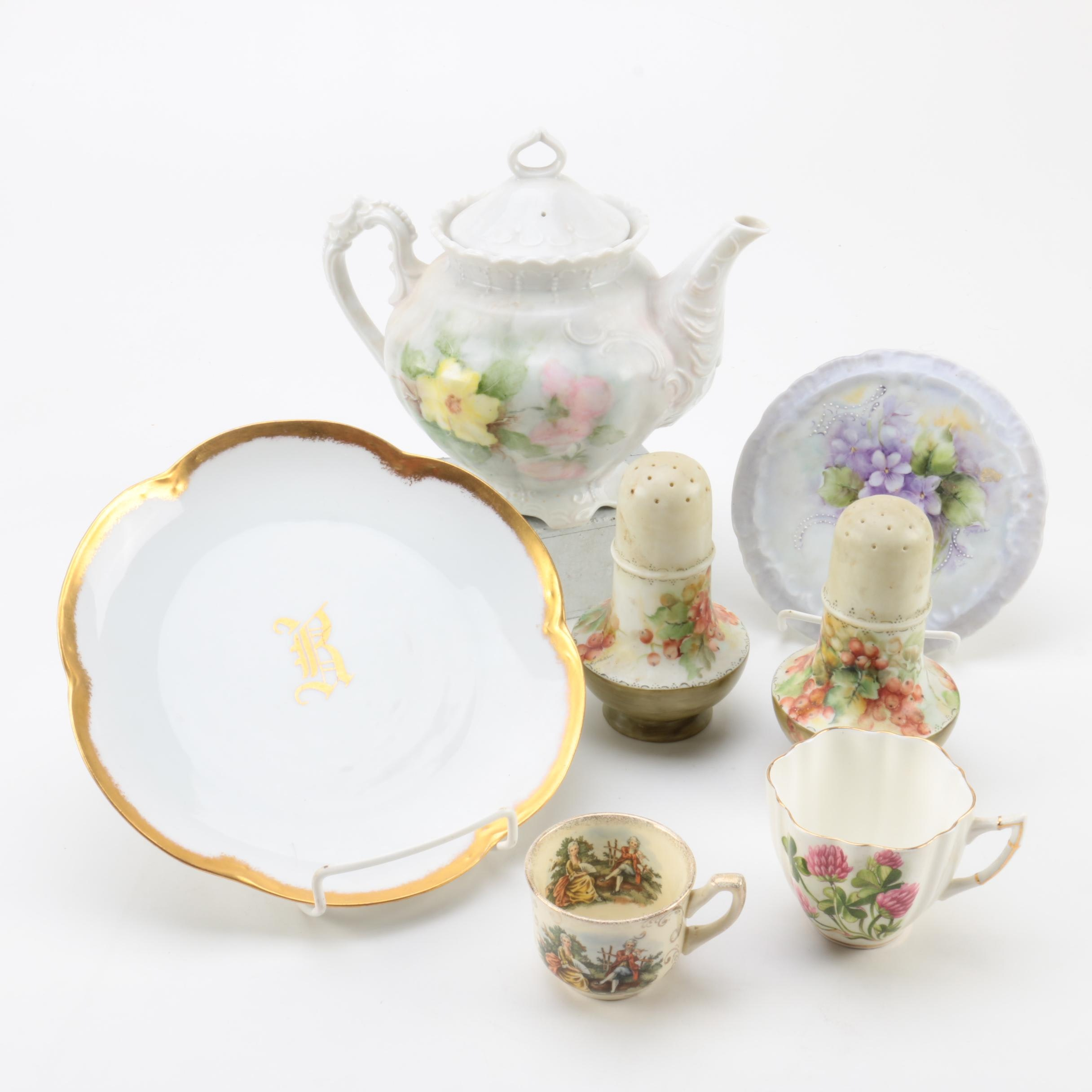 Vintage Hand Painted Teapot and Tableware