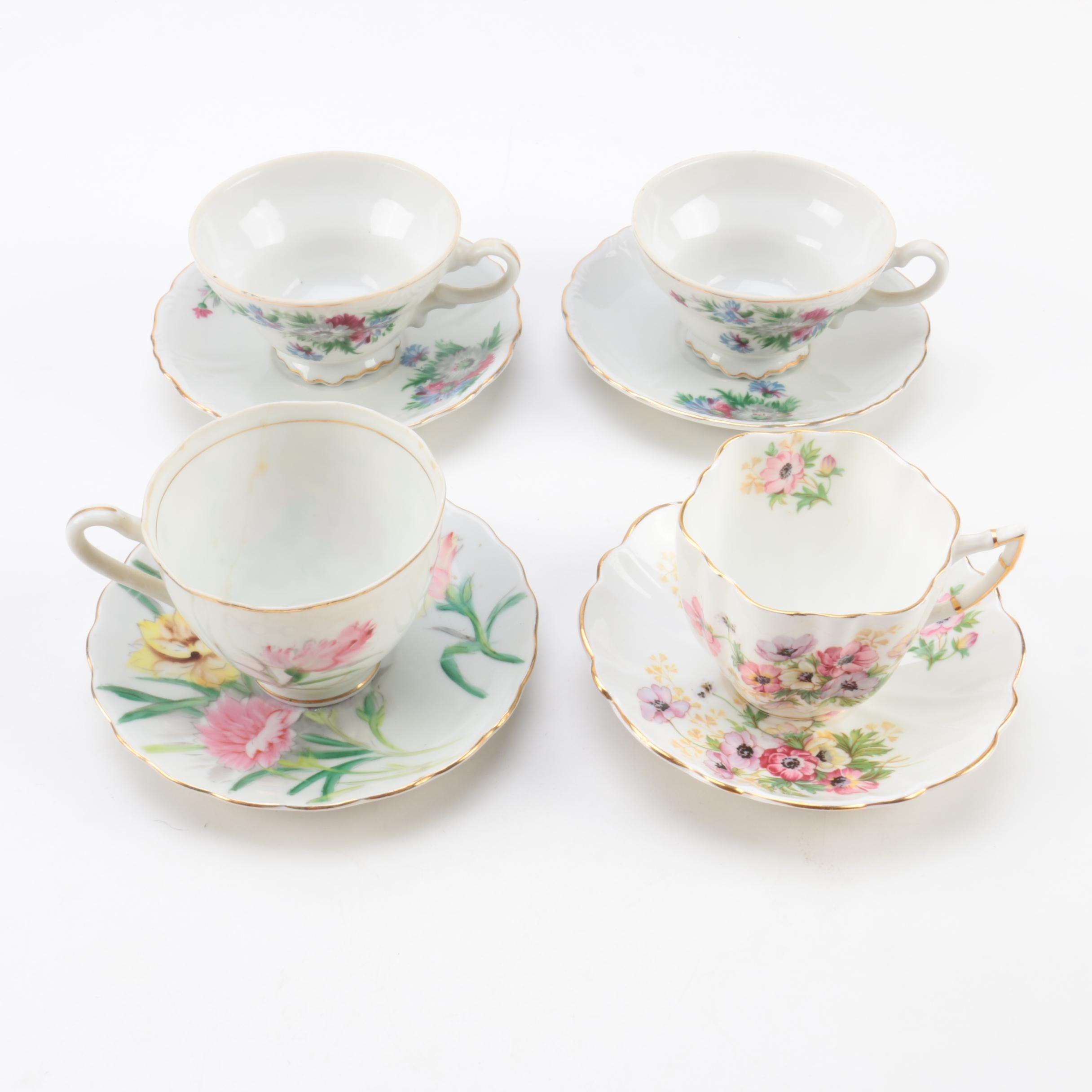 Vintage Teacups and Saucers Including Kasuga Ware