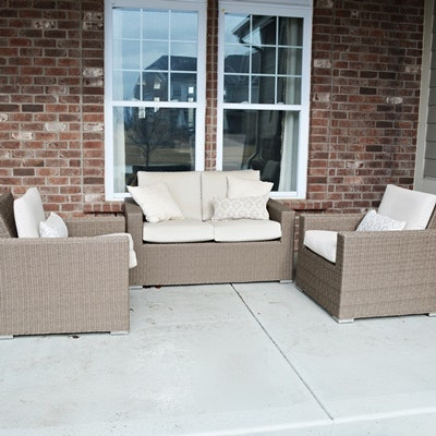 "Threshold ""Heatherstone"" Wicker Patio Chairs and Loveseat"