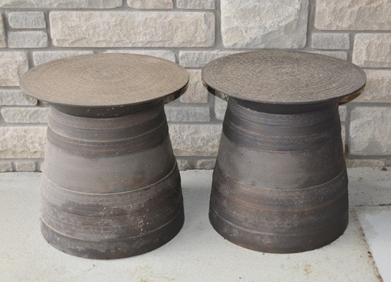 Metal Drum Patio Accent Tables