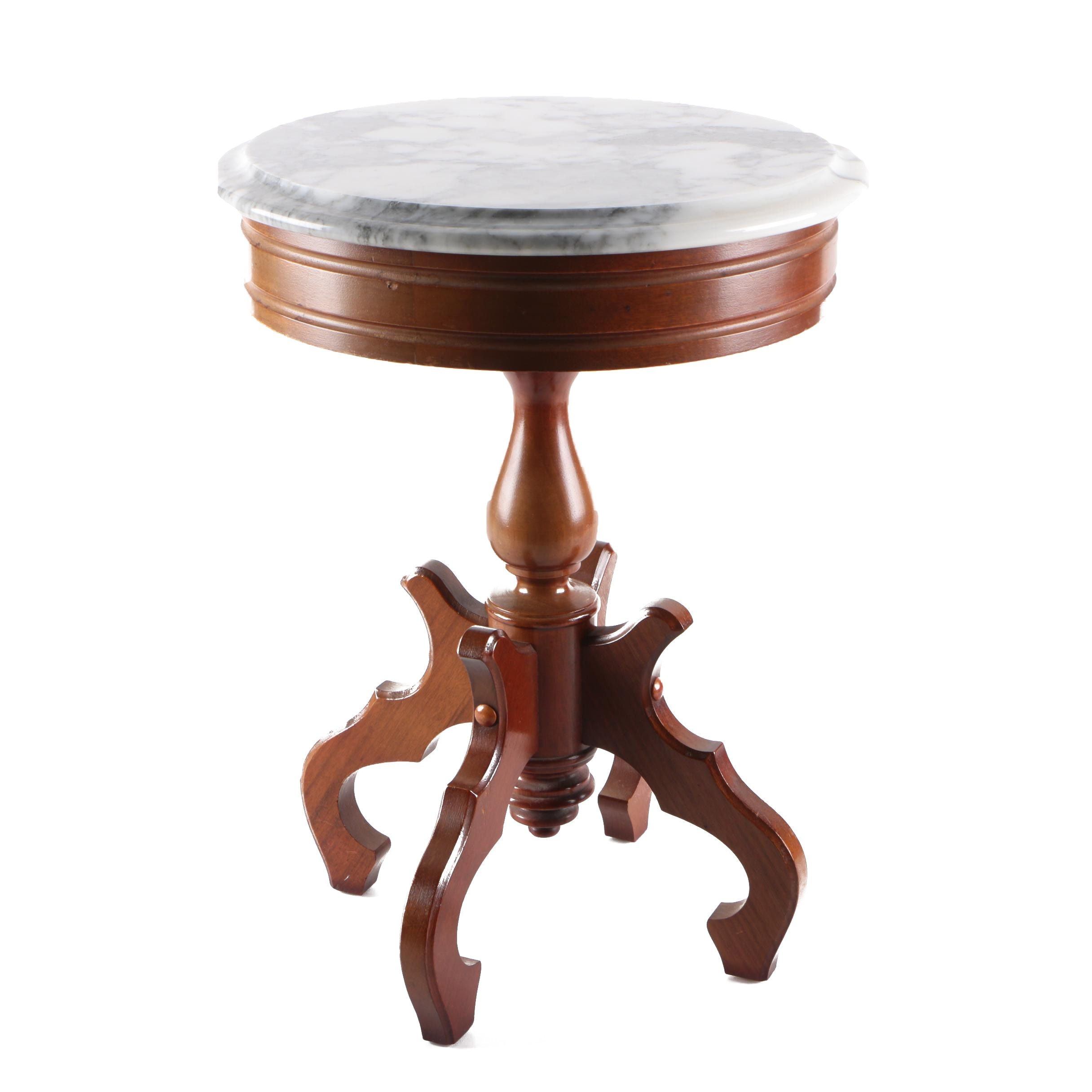 Victorian Style Mahogany and Marble Side Table