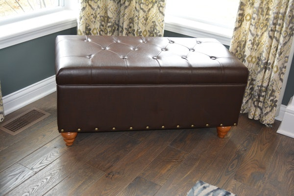 Faux Leather Chocolate Brown Bench