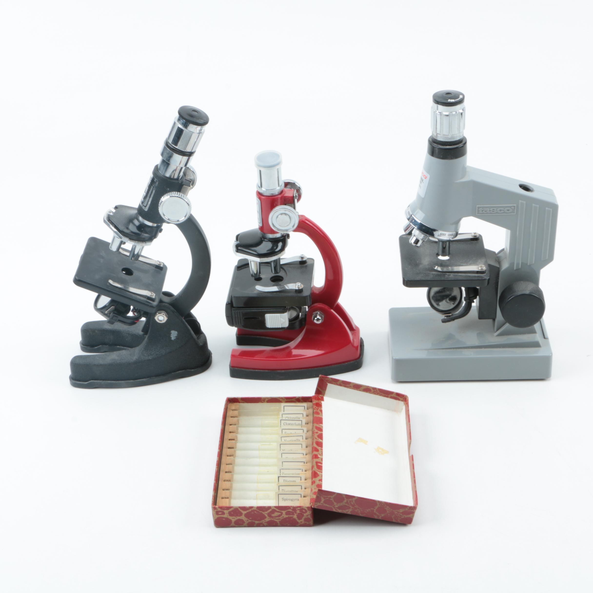 Tasco Microscopes with Box of Prepared Slides