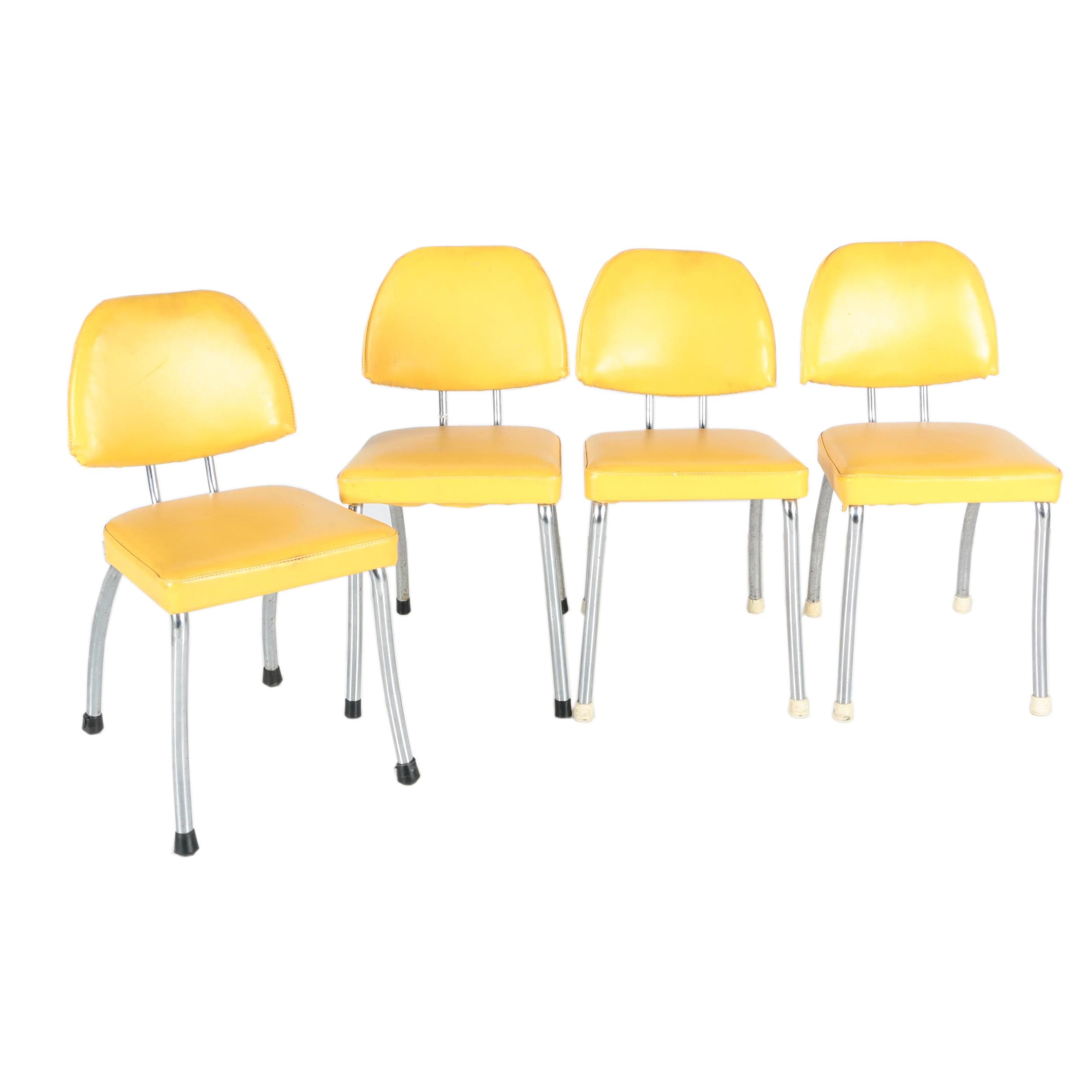 Set of Four Mid Century Modern Chrome and Yellow Chairs by Daystrom