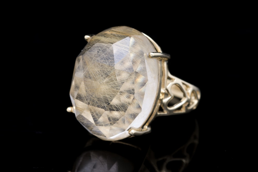 10K Yellow Gold and Rutilated Quartz Ring
