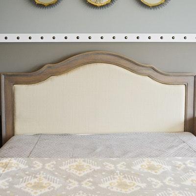 Queen Size Headboard With Linen Inset