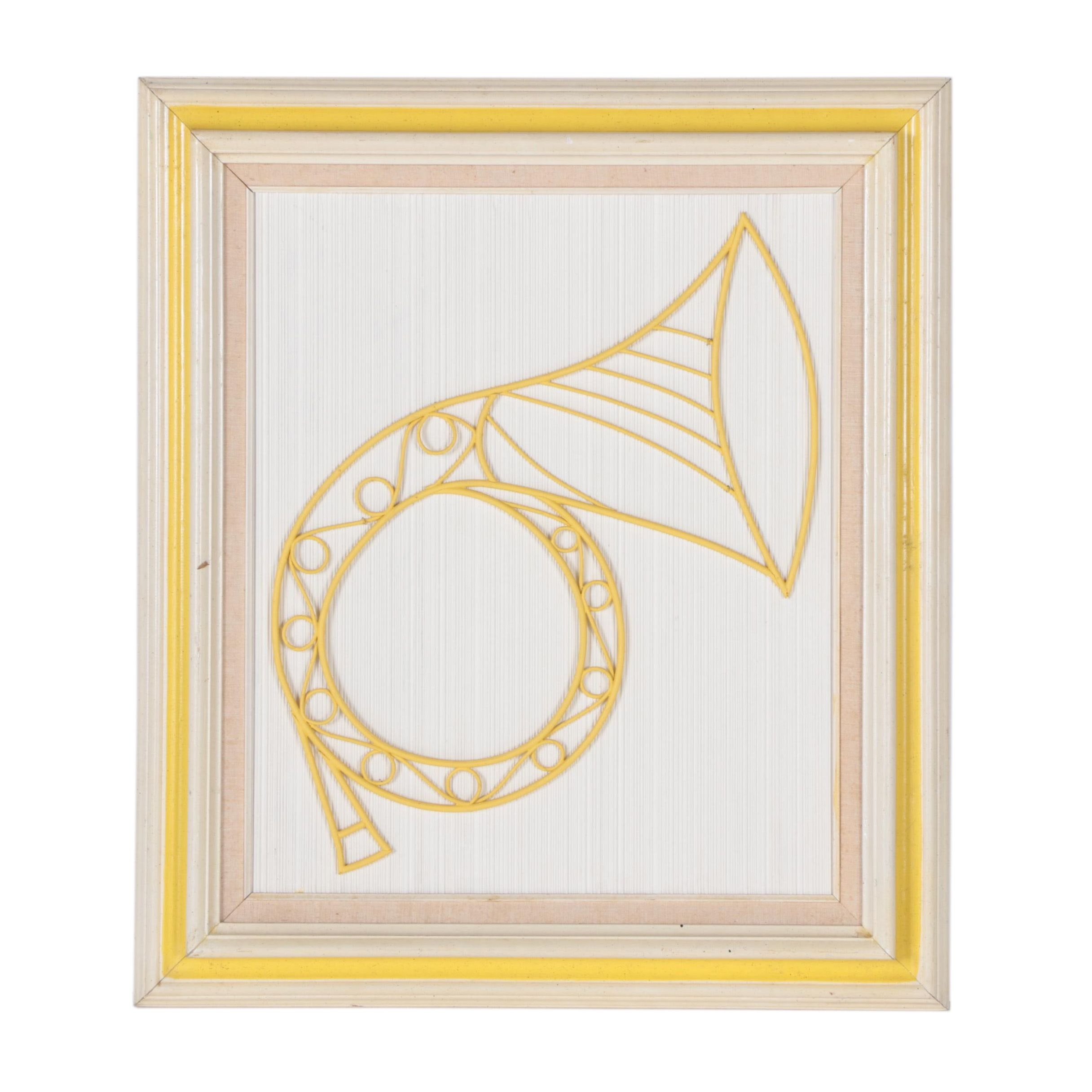 Framed Wooden French Horn Art