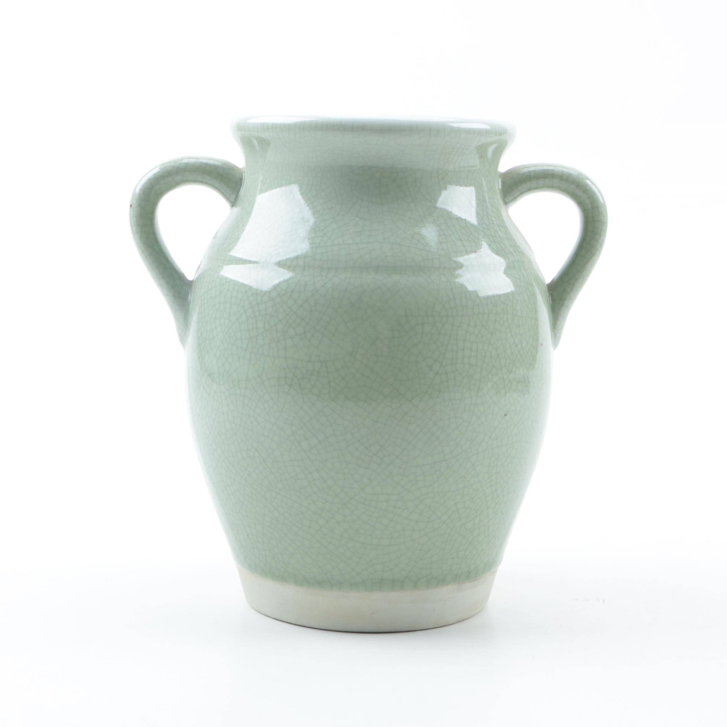 Celadon Vase Featuring a Crackle Glaze