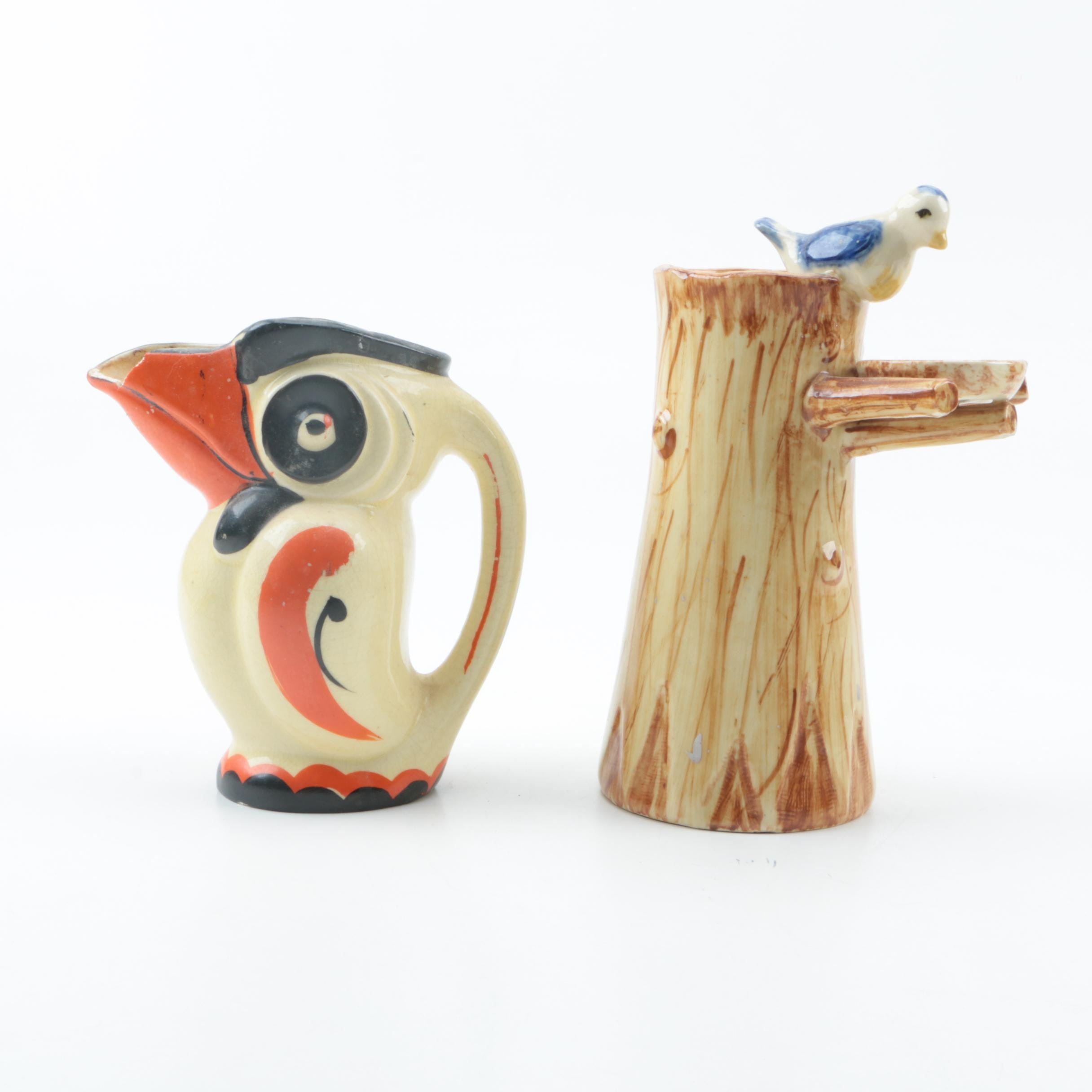 Bird Themed Pitcher and Vase