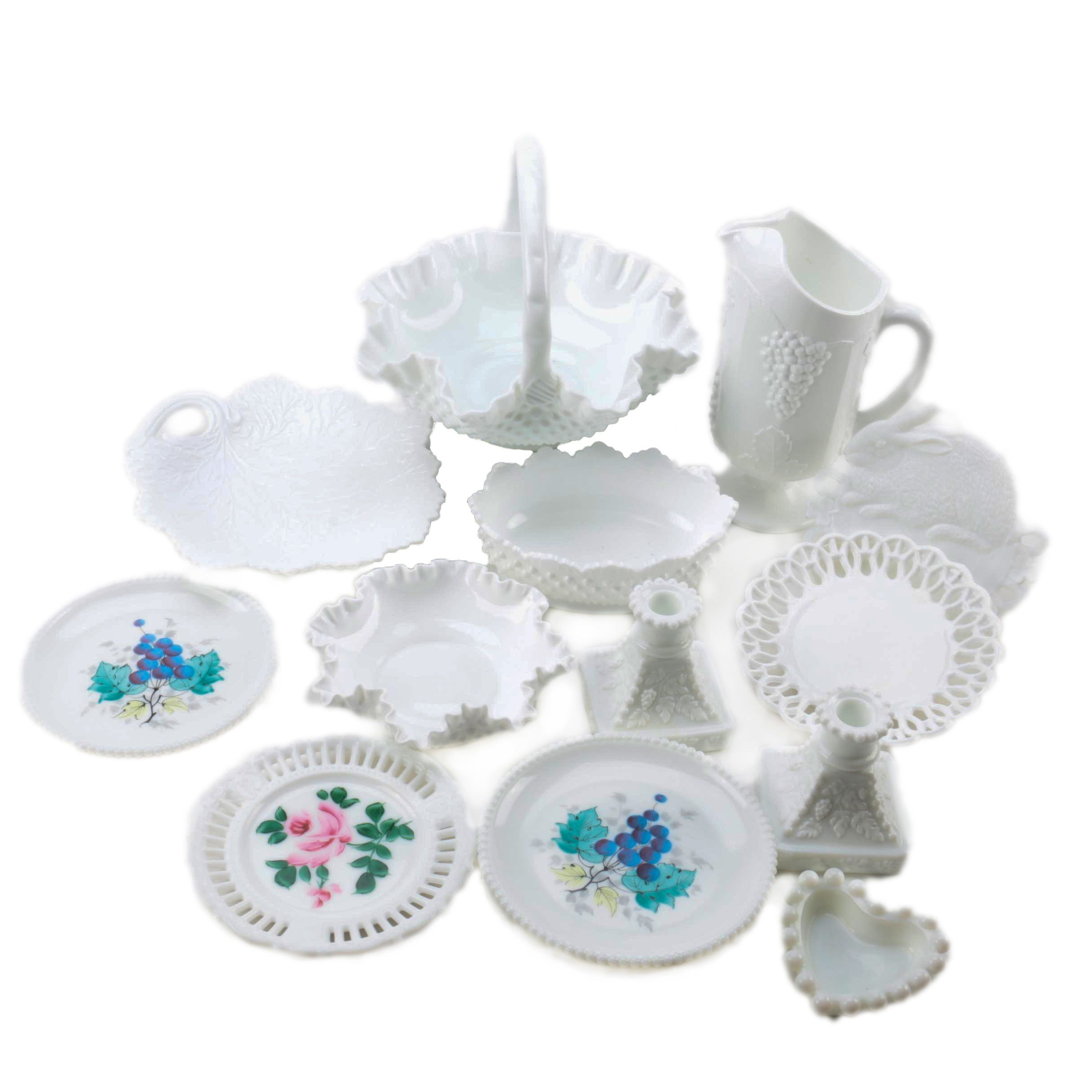 Vintage Milk Glass Tableware Including Westmoreland and Fenton
