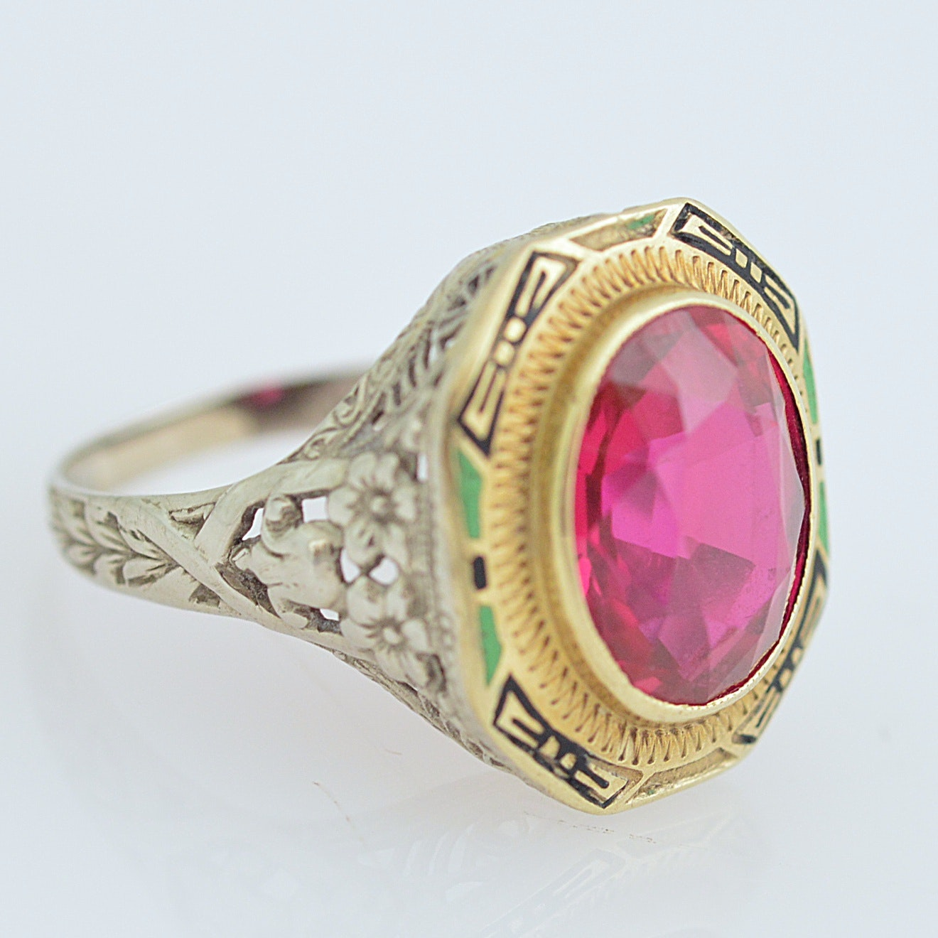 14K Yellow and White Gold and Synthetic Ruby Ring