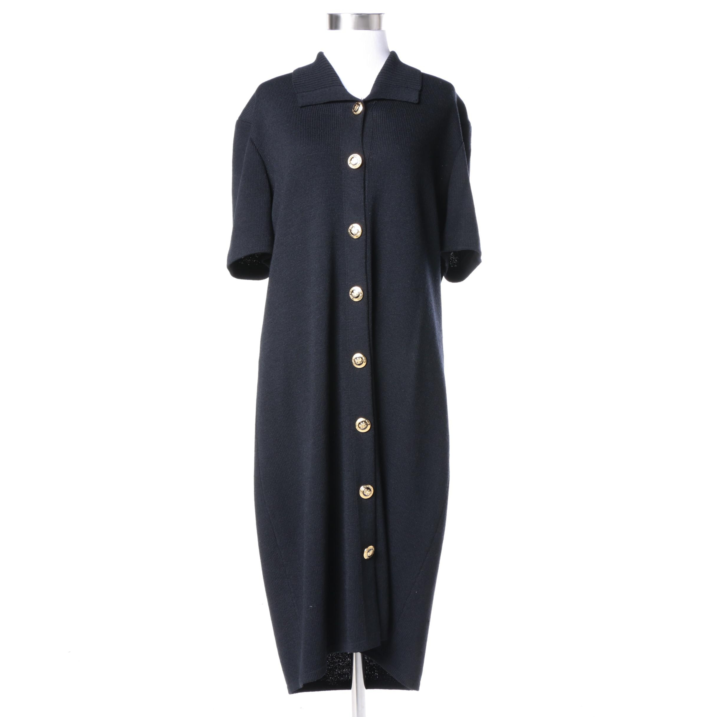 St. John Basics Black Knit Button-Up Dress