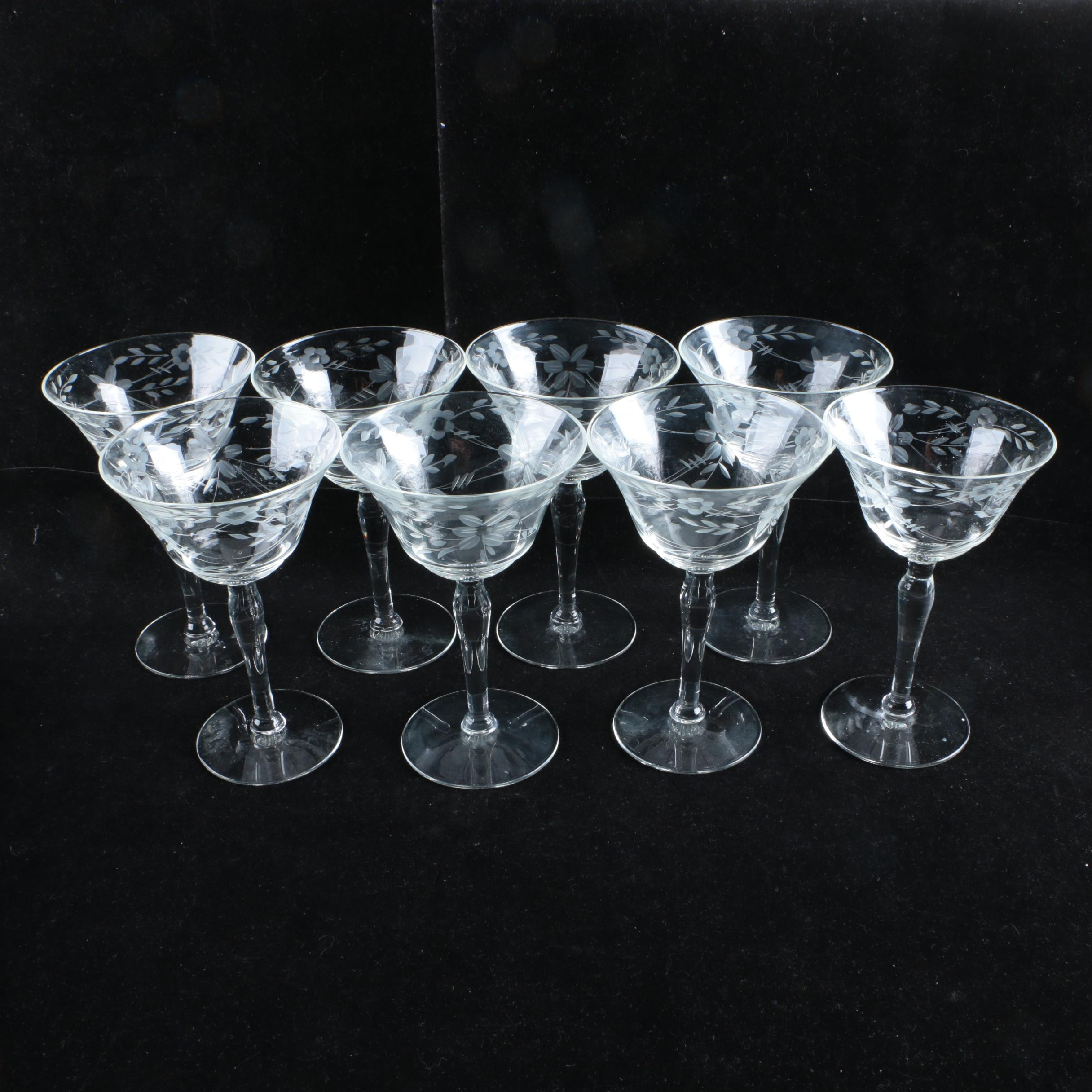 Etched Glass Wine Glasses