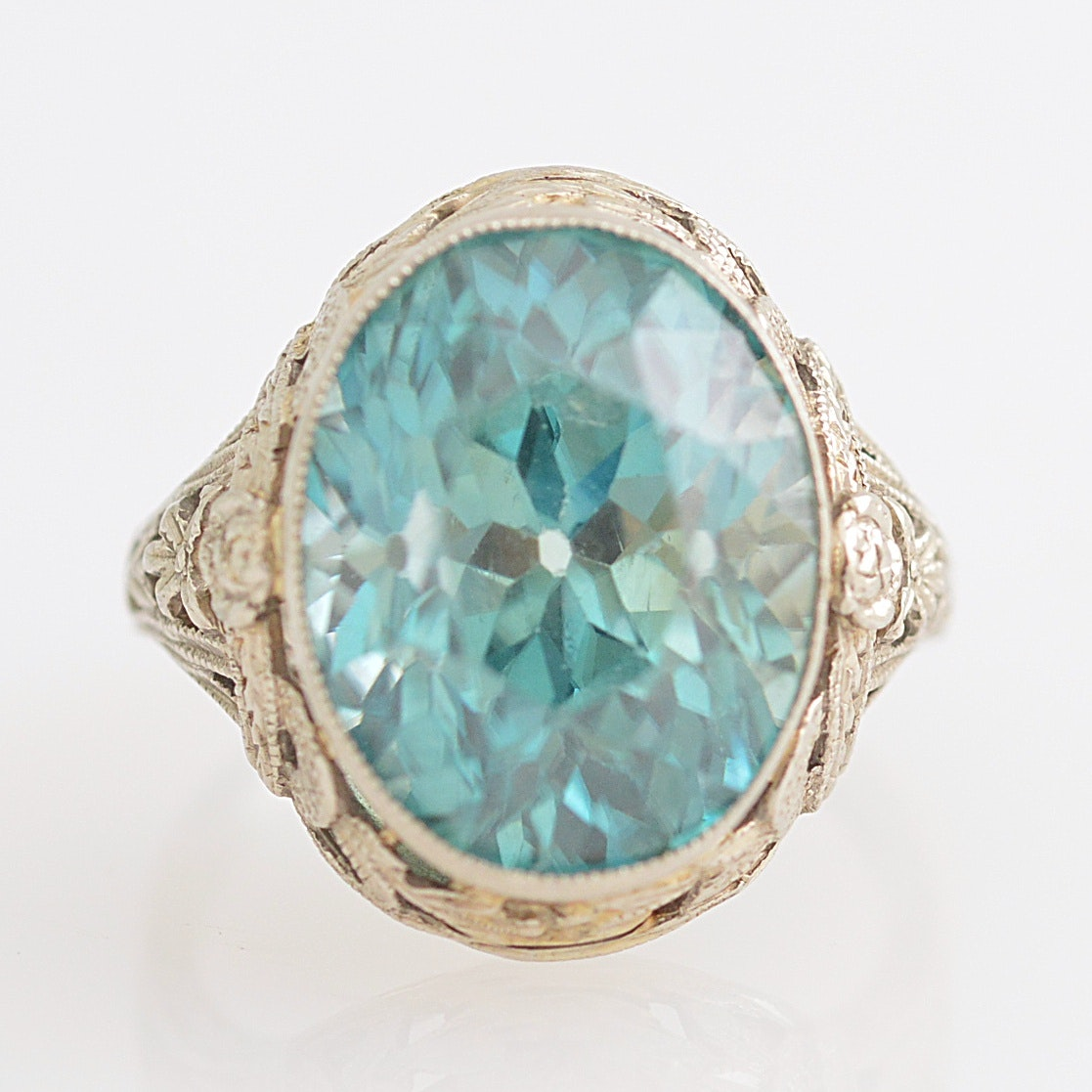 14K White Gold and Blue Zircon Ring
