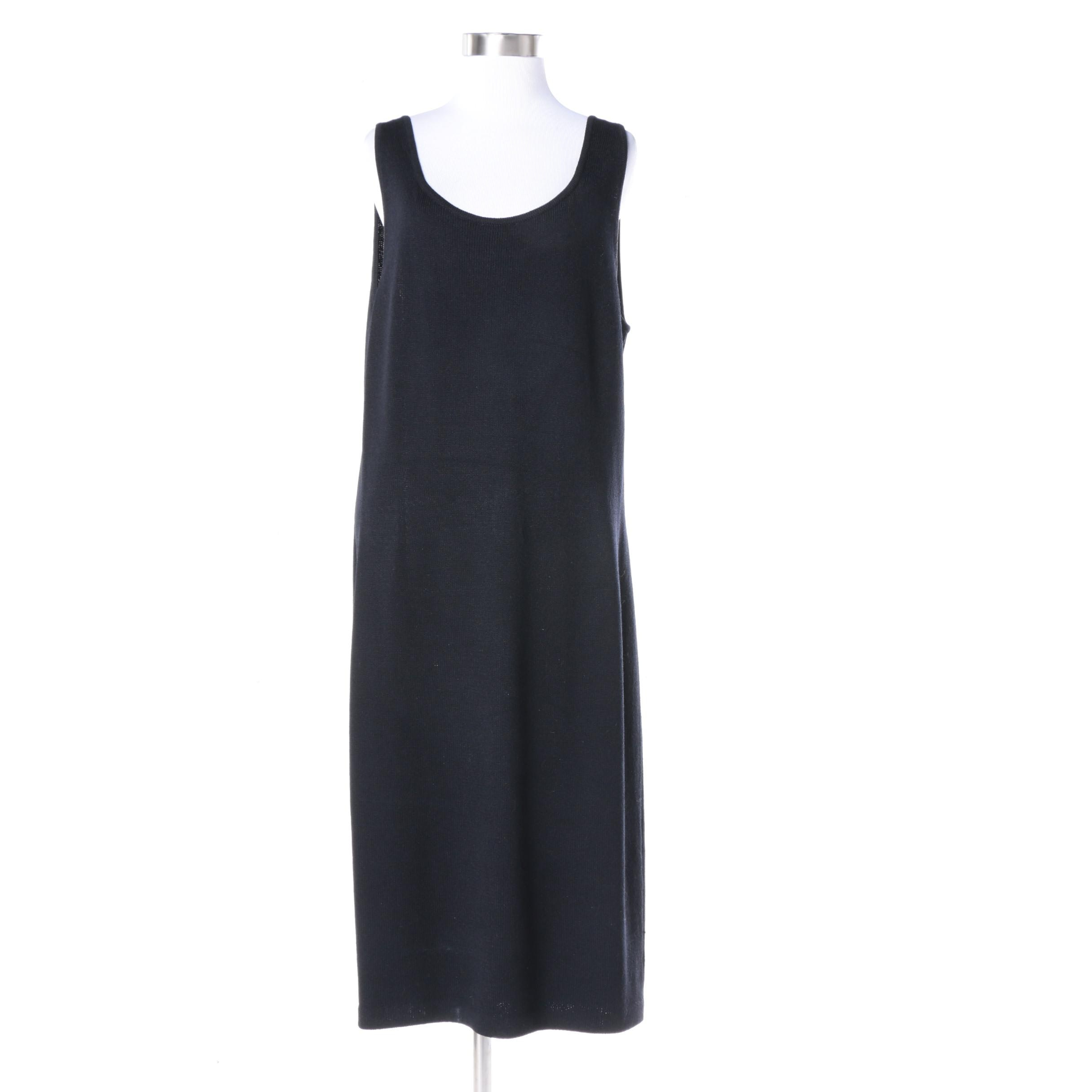 St. John Basics Black Knit Sleeveless Dress