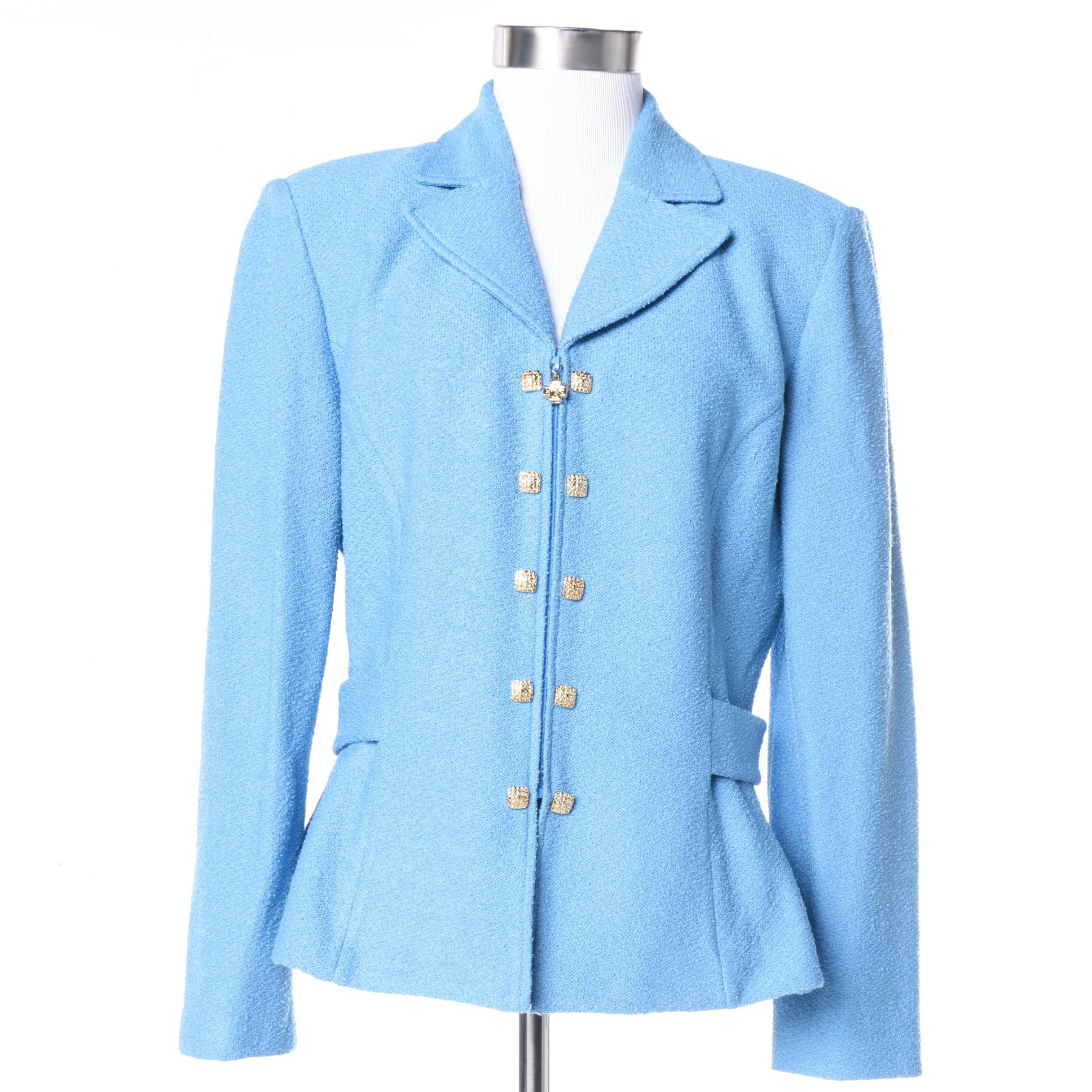 St. John Collection Light Blue Knit Jacket