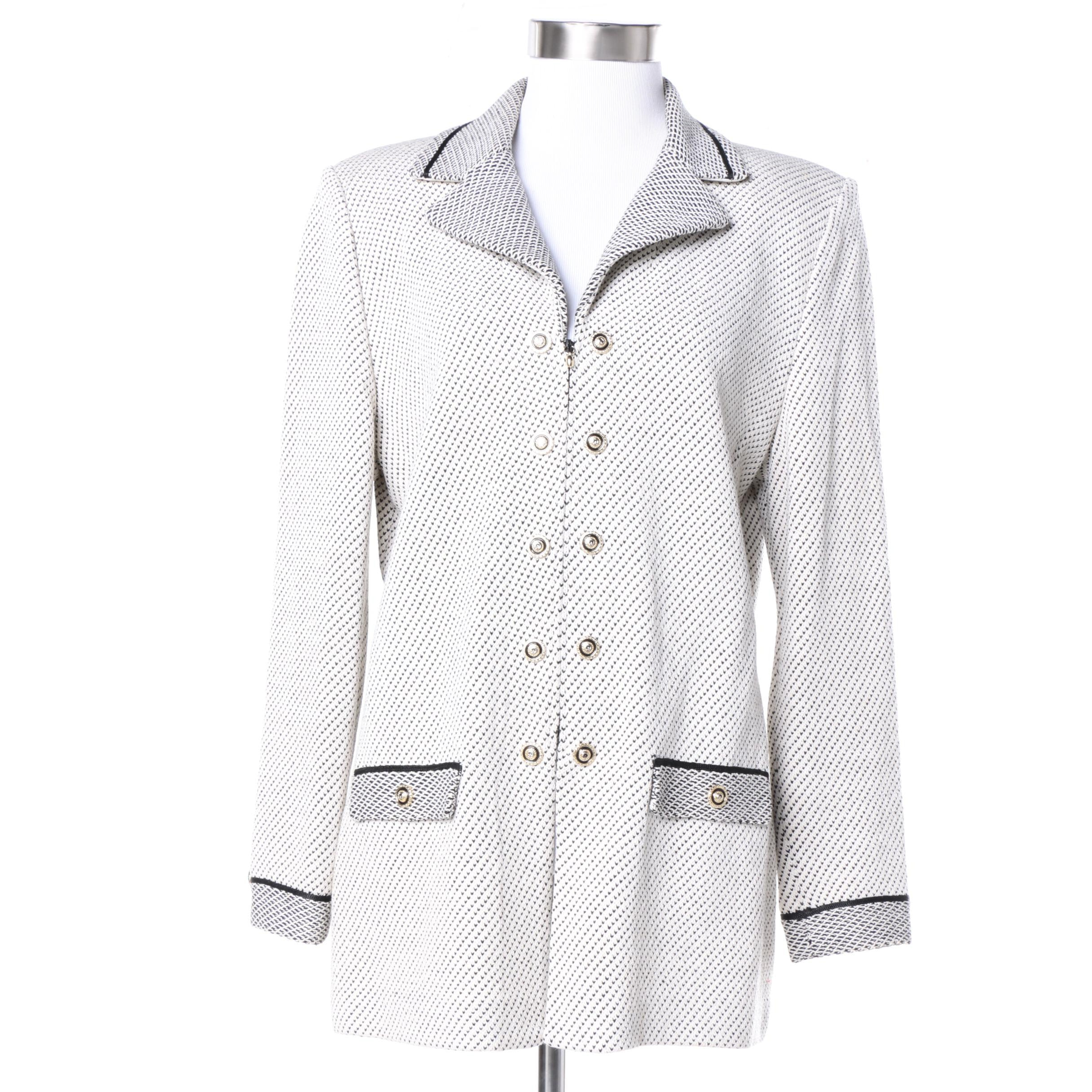 St. John Collection Knit Blazer in White and Black