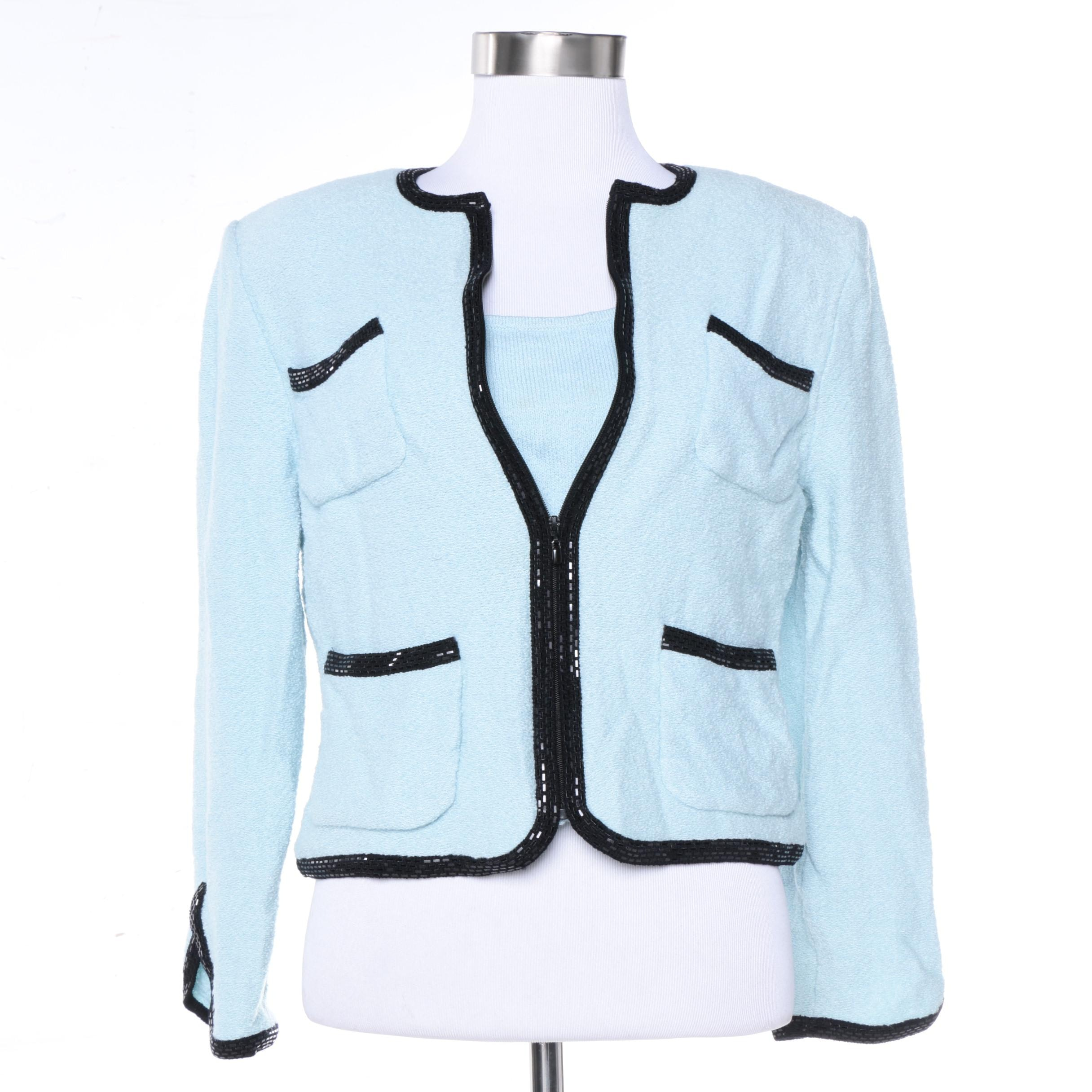 Women's St. John Collection Blue Knit Suit Jacket and St. John Knit Tank Top