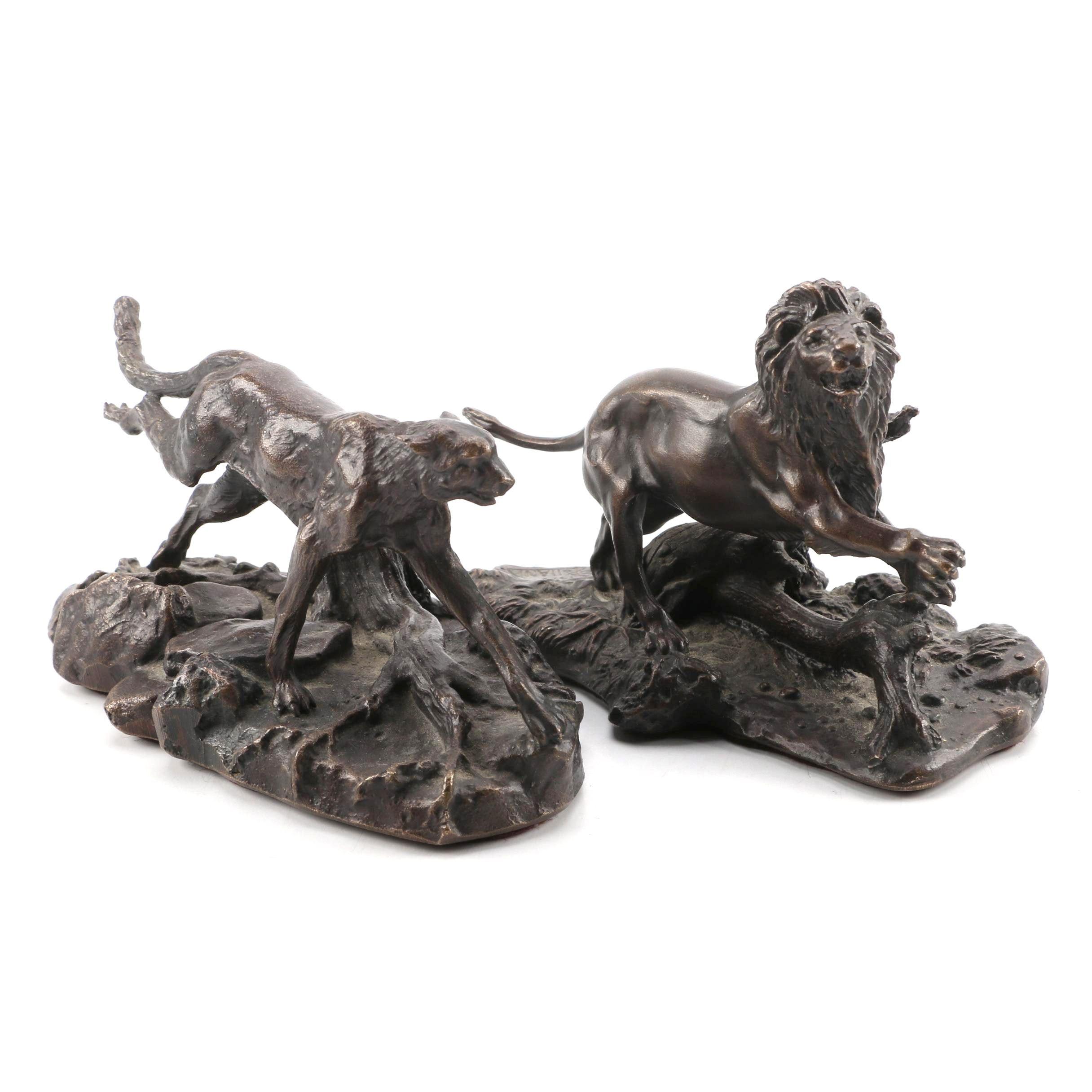 Franklin Mint Bronze Lion and Cheetah
