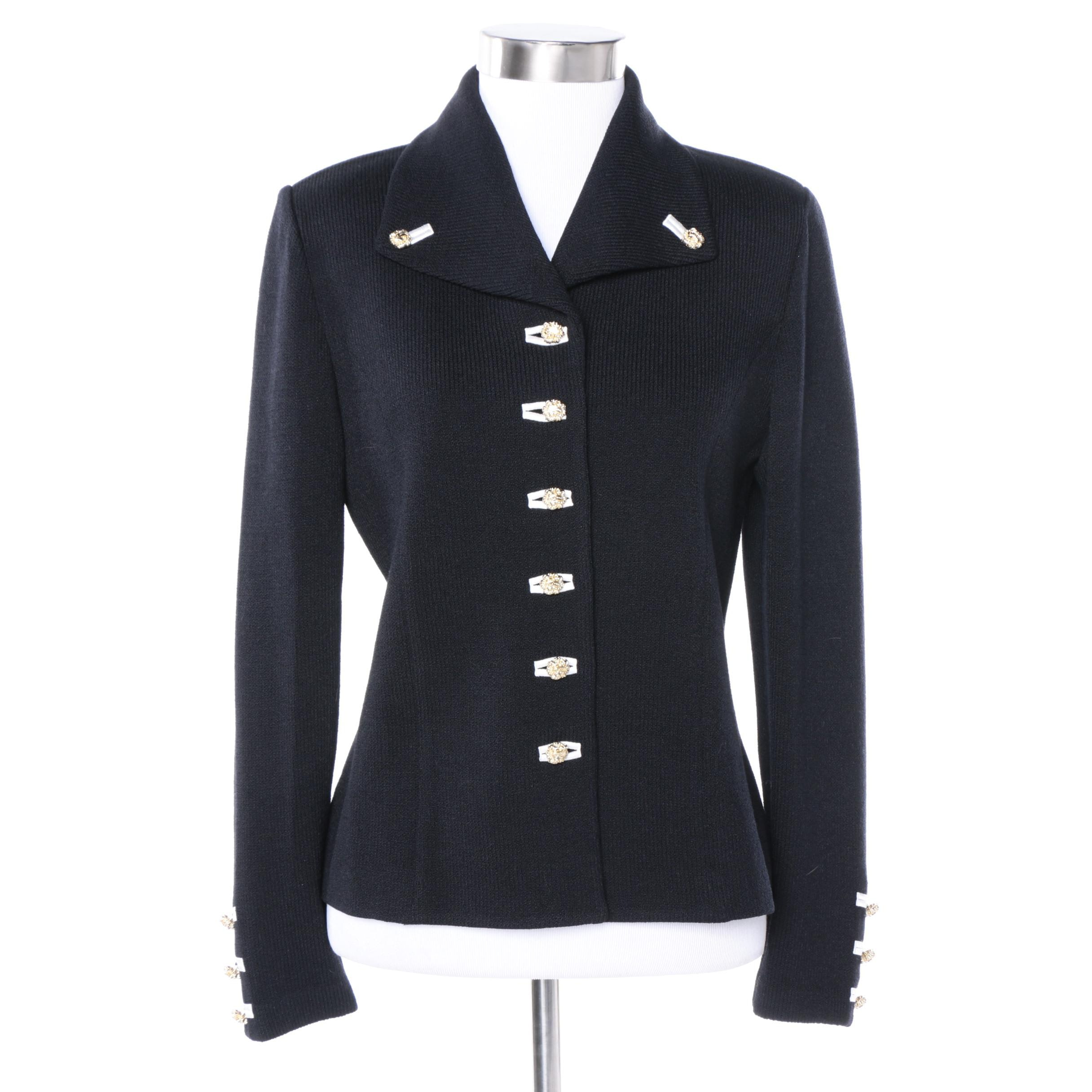 Women's St. John Collection Black Knit Suit Jacket
