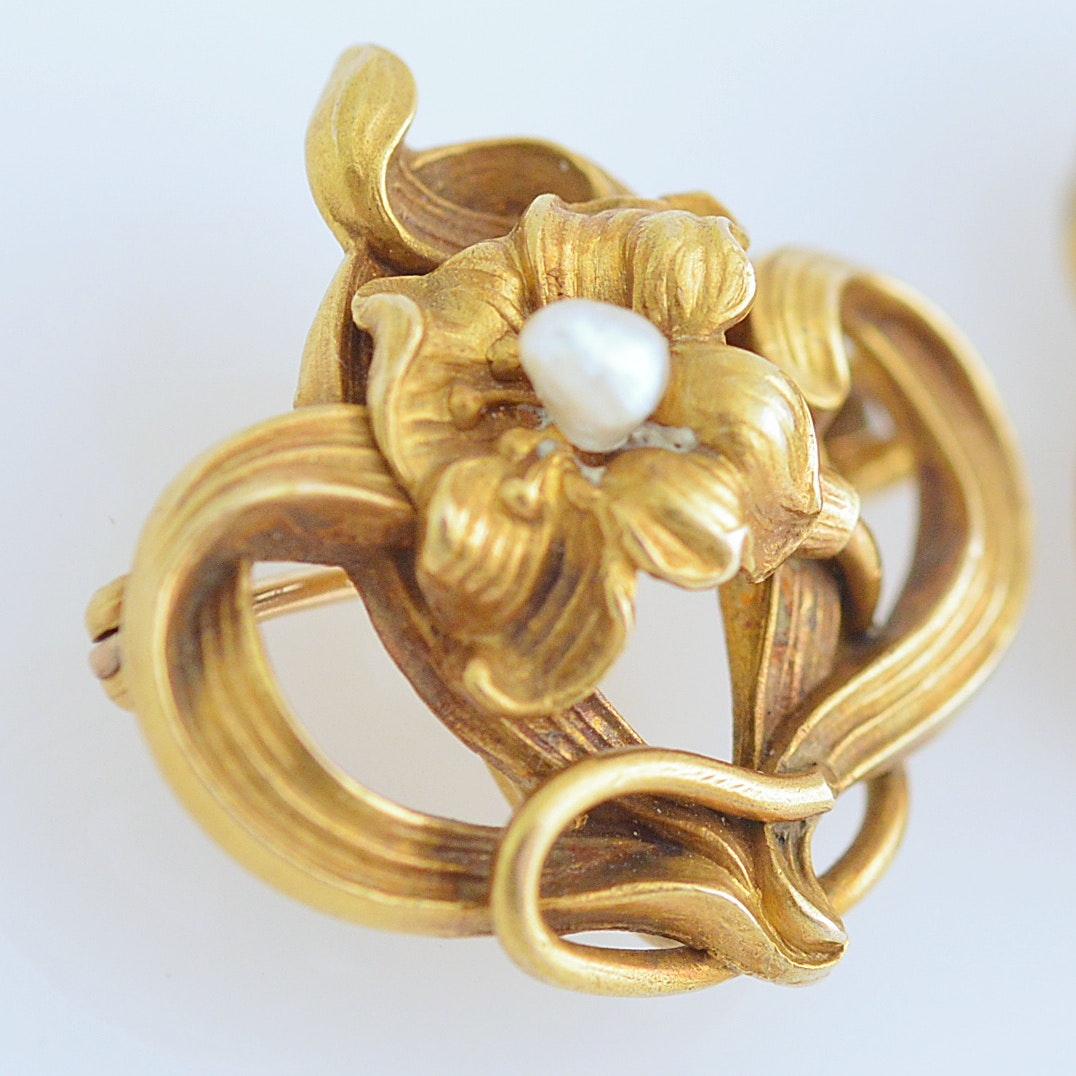 Art Nouveau 10K Yellow Gold Brooches