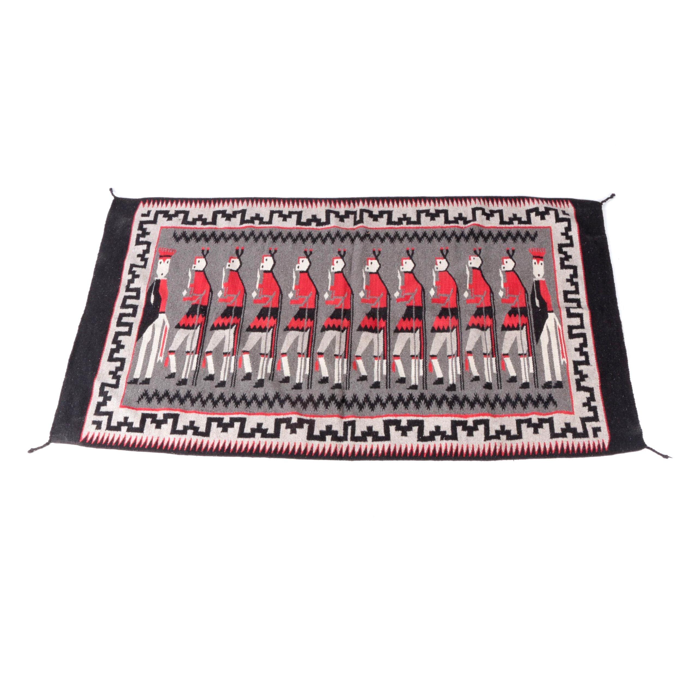 Hand Woven Navajo Yeibichai Design Wool Accent Rug
