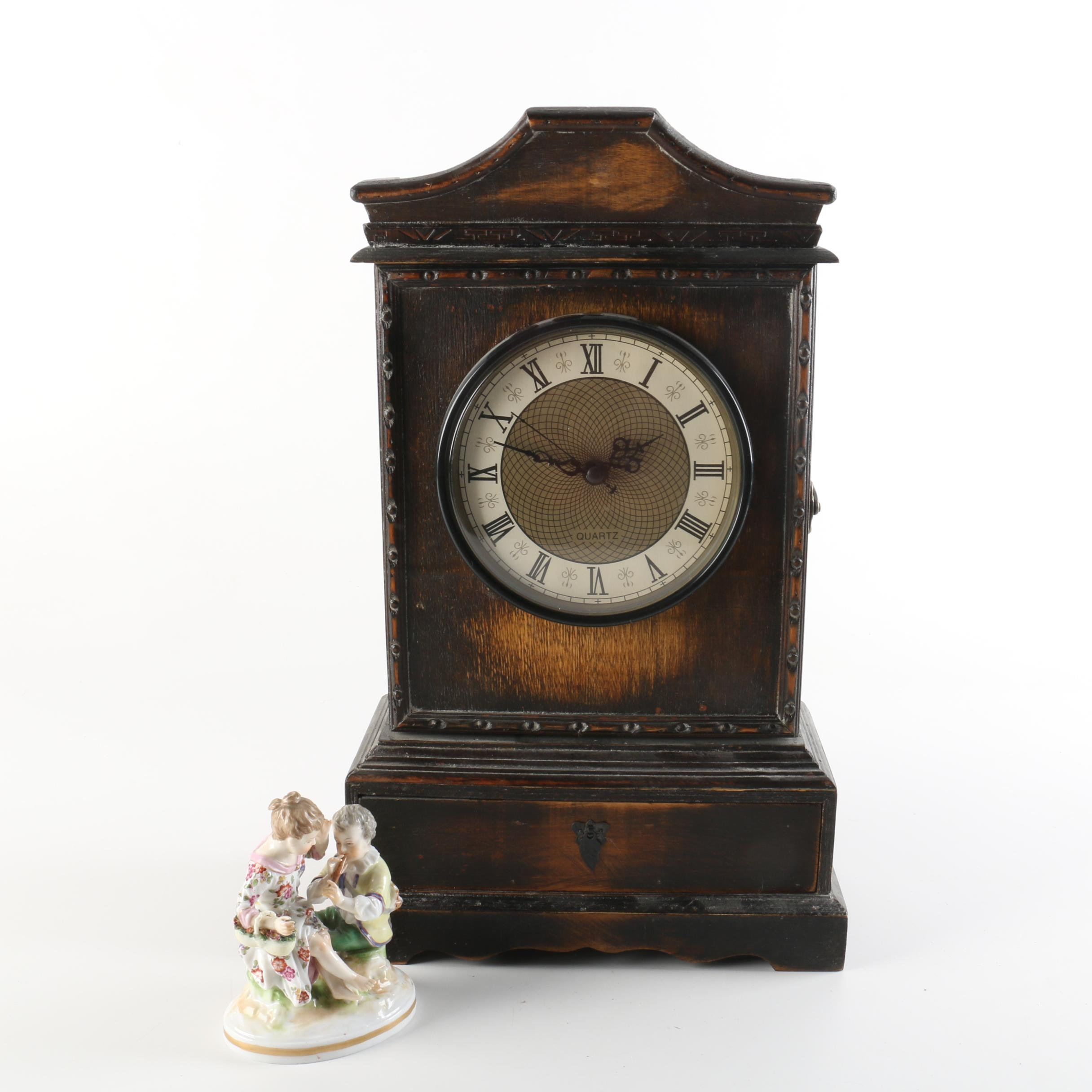 Mantel Clock and Ludwigsburg Porcelain Figurine