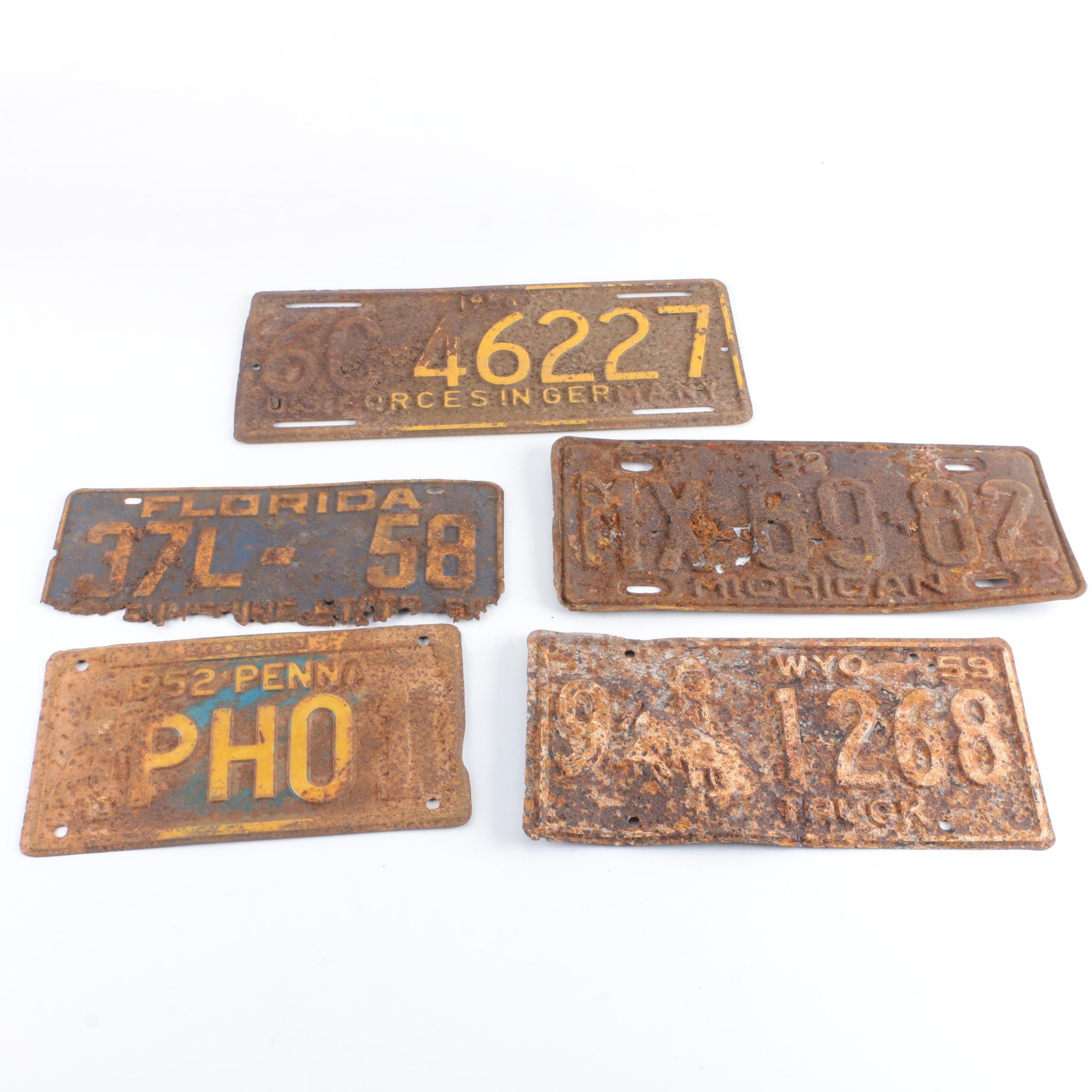 Vintage License Plates Including U.S. Forces in Germany