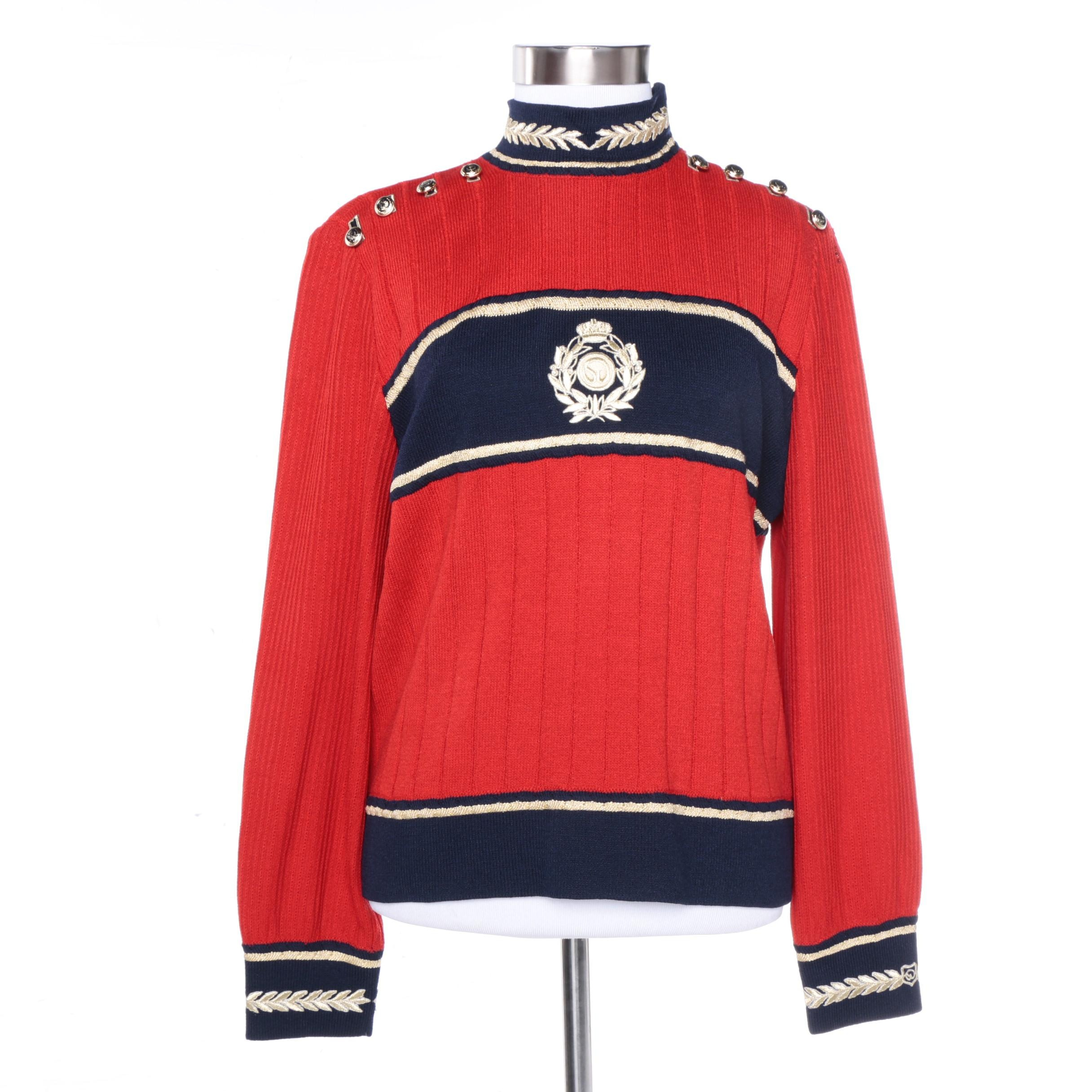 St. John Collection Red and Blue Sweater With Gold Trim