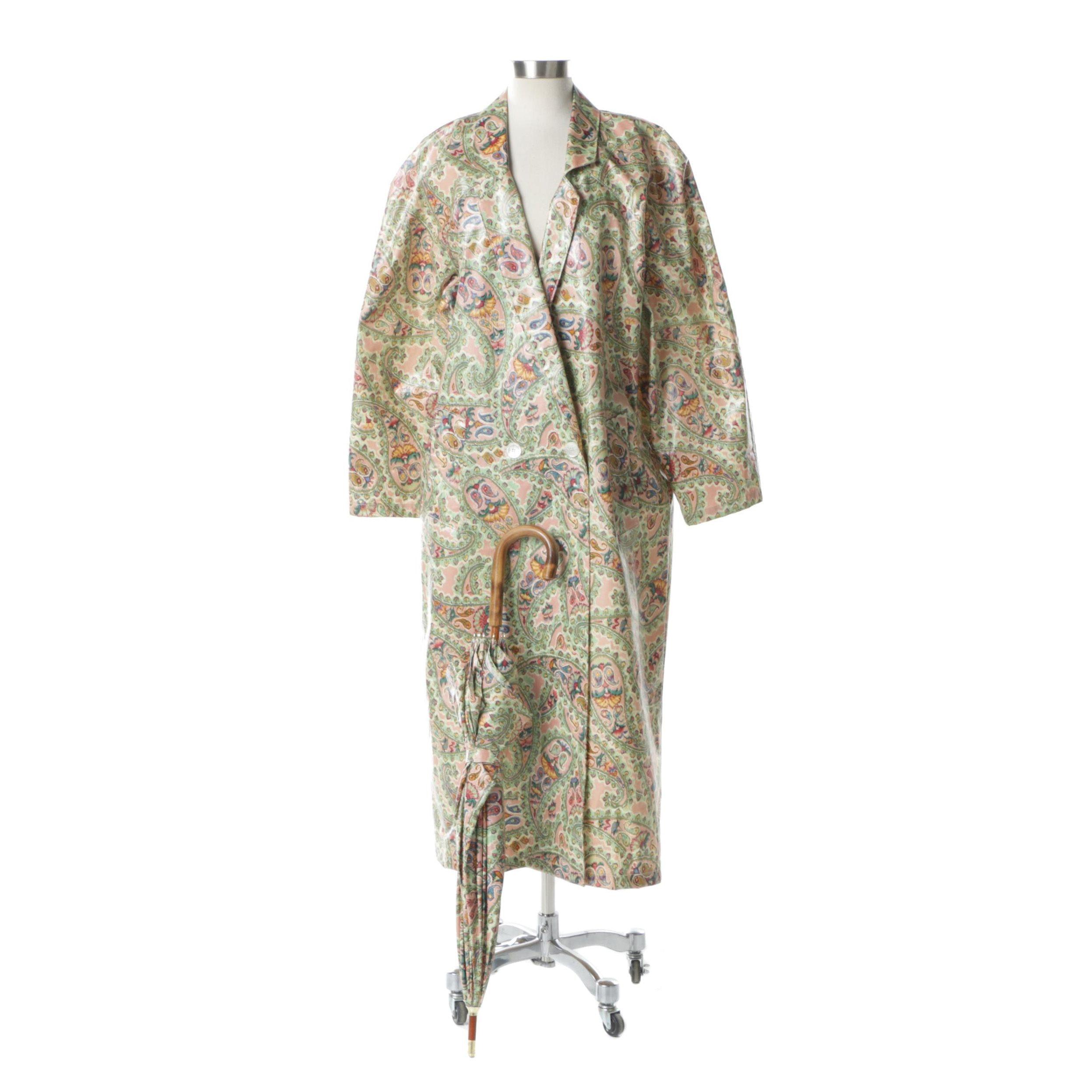 Women's Nordic House Designs Floral Paisley Raincoat and Umbrella