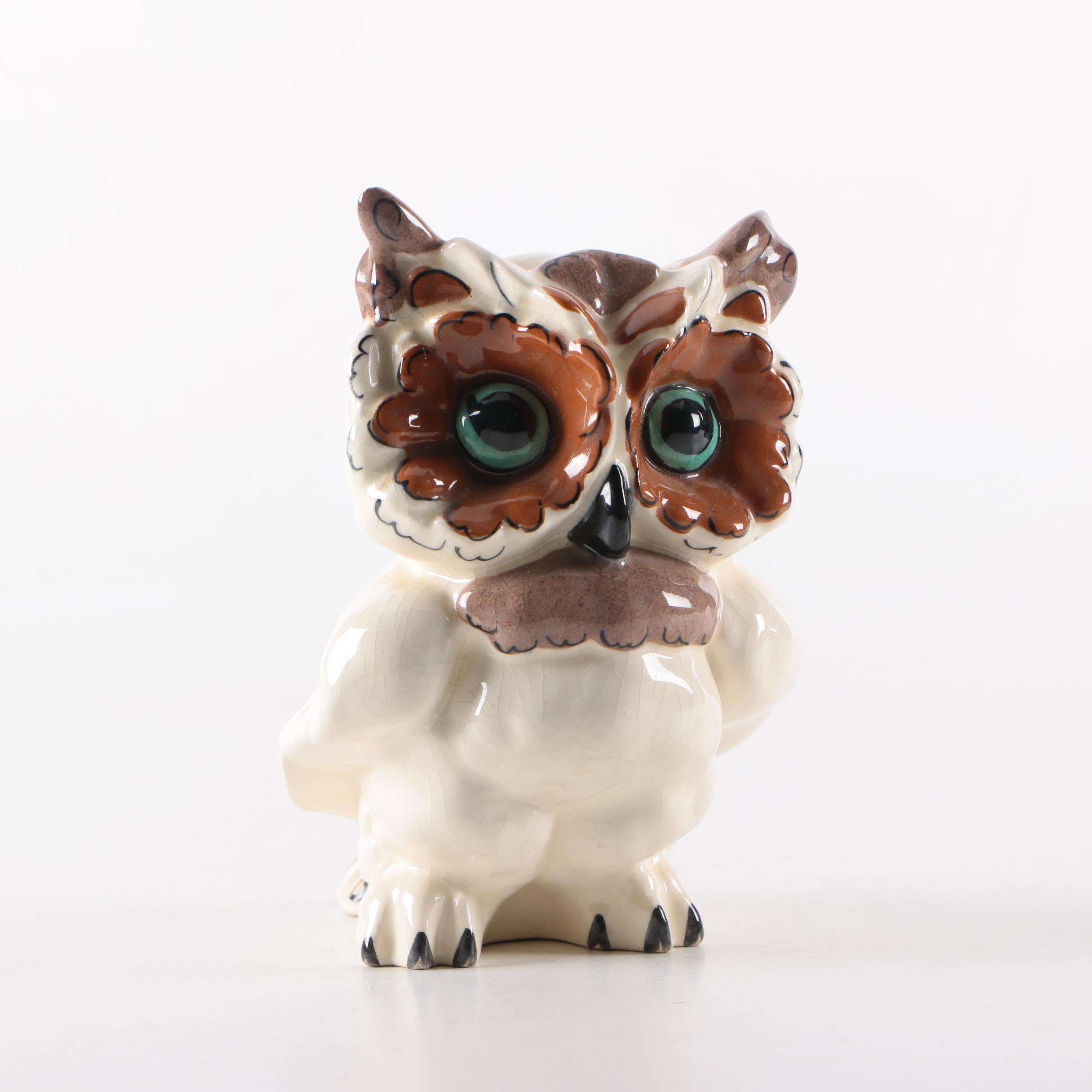 Signed Kay Finch Laguna Ceramic Owl Figurine