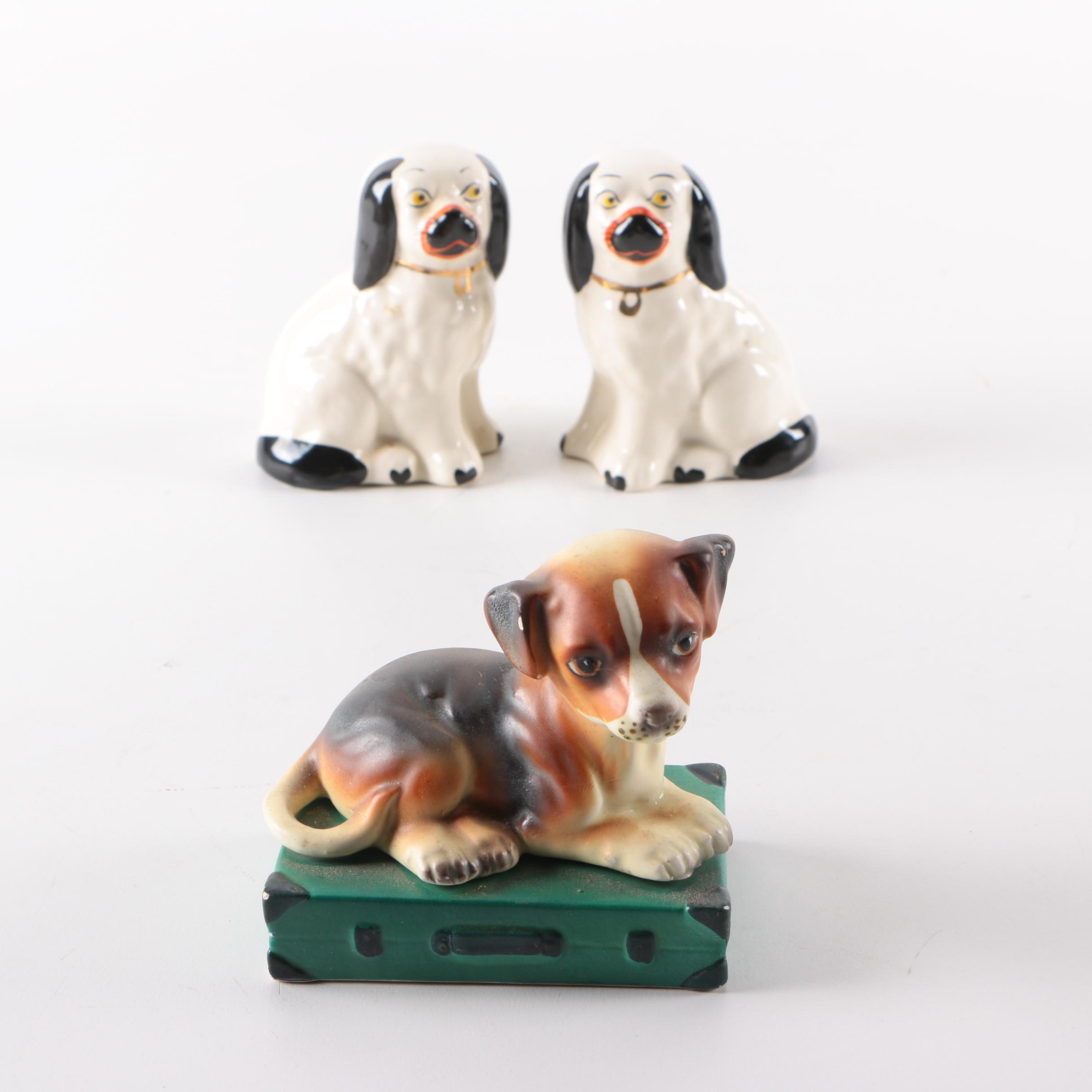 Staffordshire Style Porcelain Spaniels and Japanese Seated Puppy Figurines