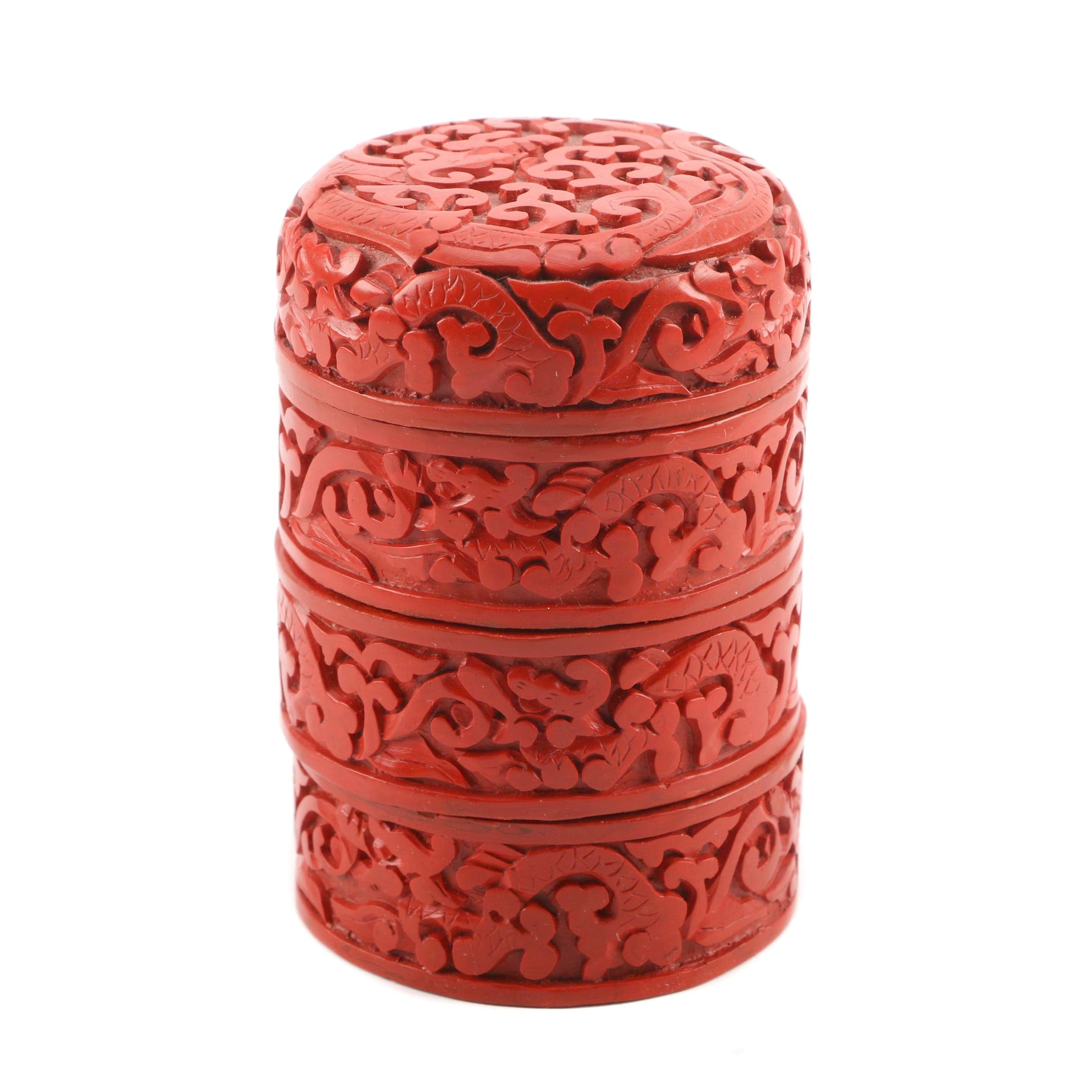 Small Chinese Cinnabar Style Stacking Containers