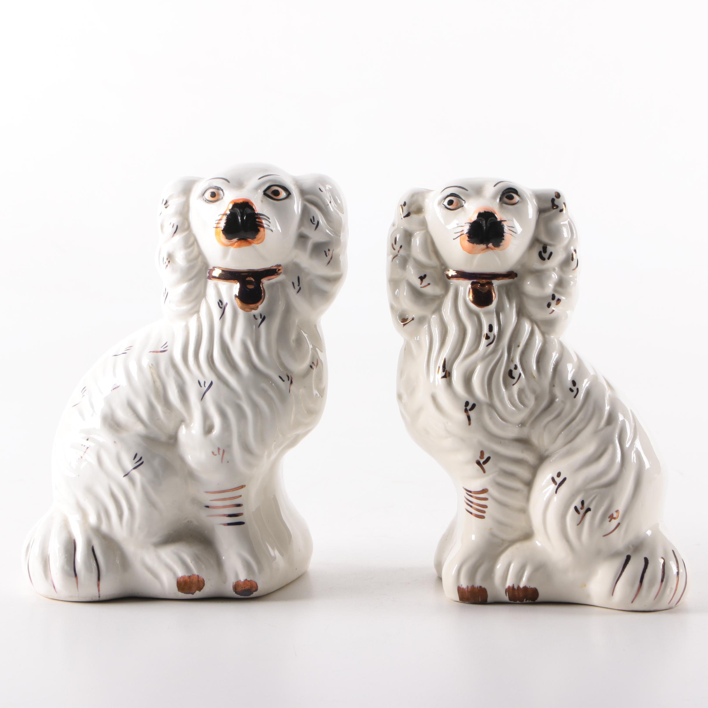Vintage Staffordshire Style Porcelain Spaniel Figurines
